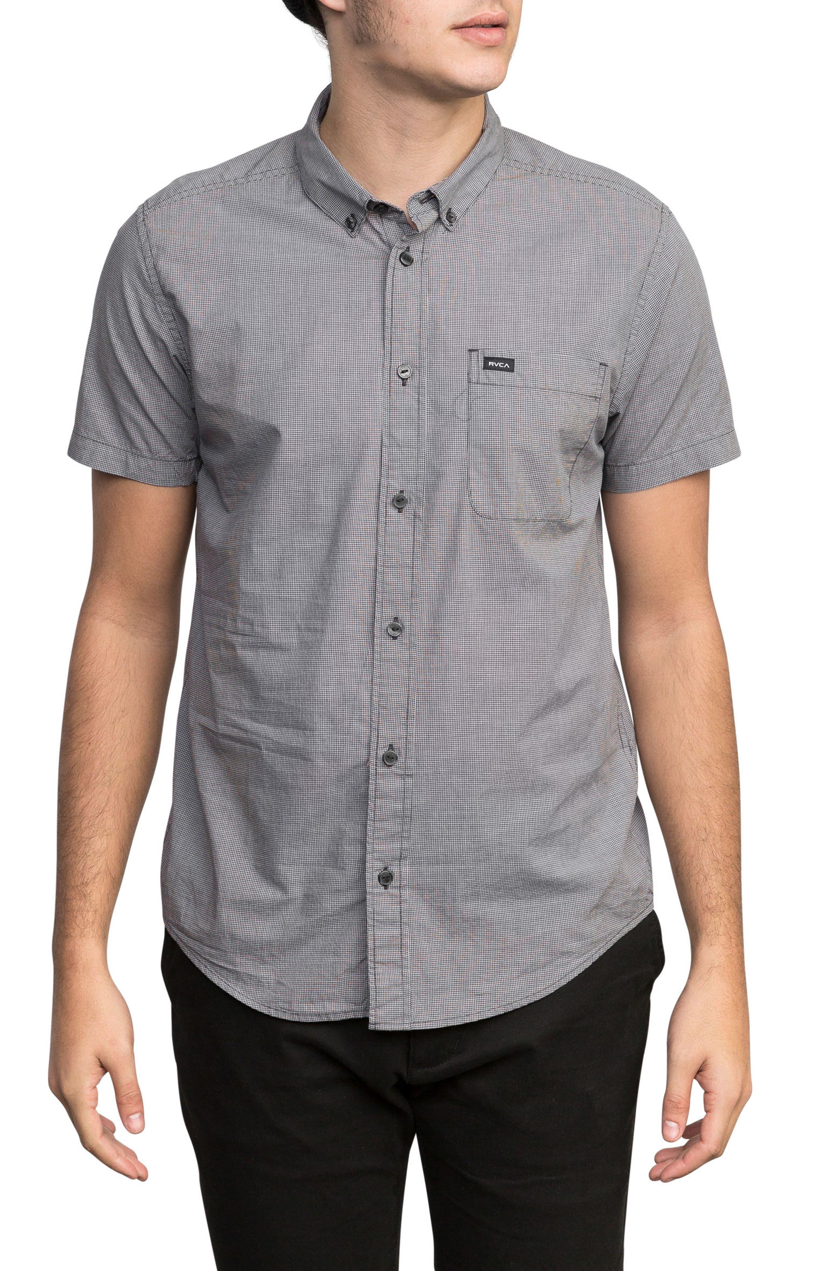 'That'll Do' Slim Fit Microdot Woven Shirt,                             Main thumbnail 1, color,                             Slate