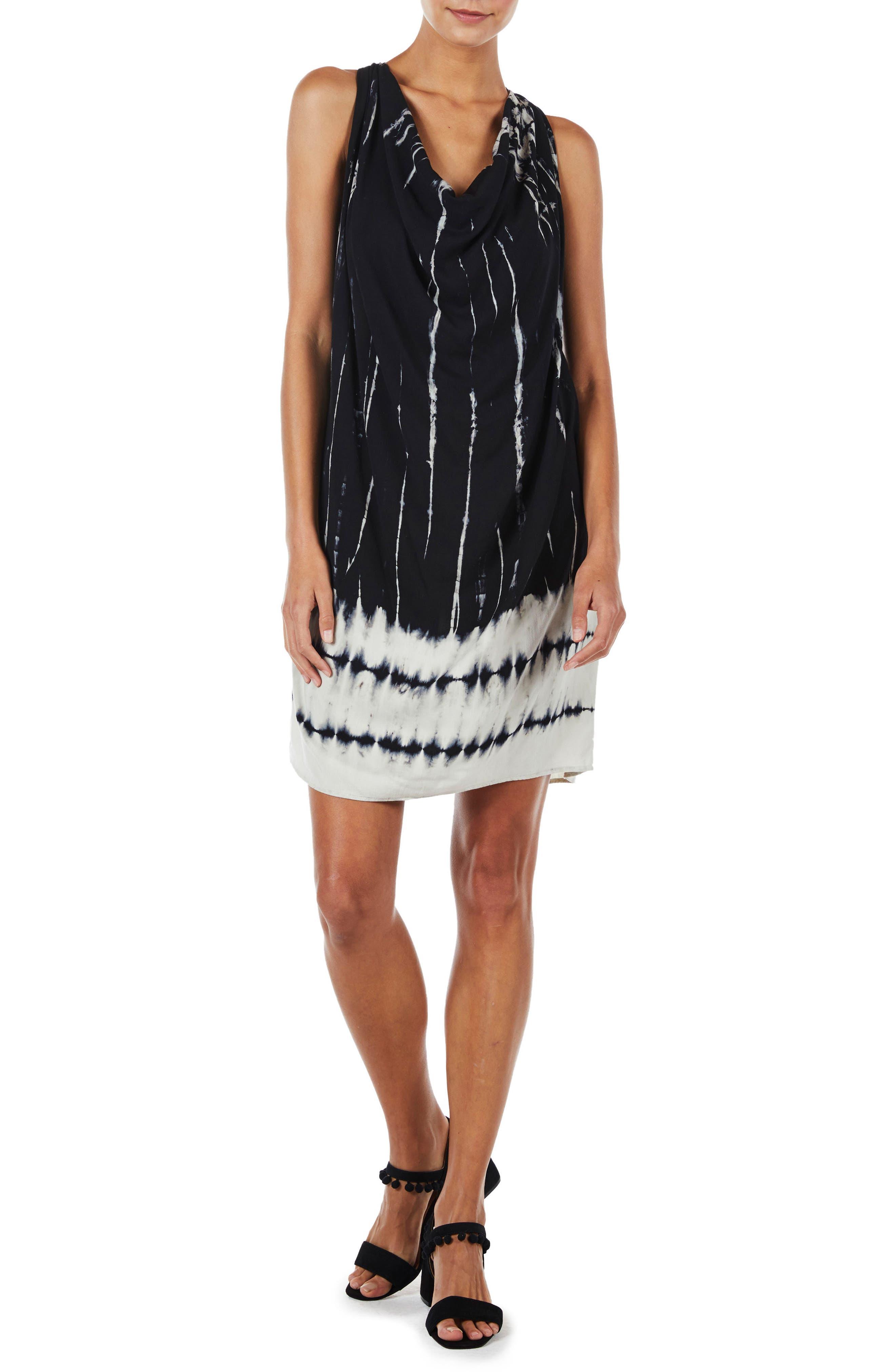 Tie Dye A-Line Dress,                             Main thumbnail 1, color,                             Black