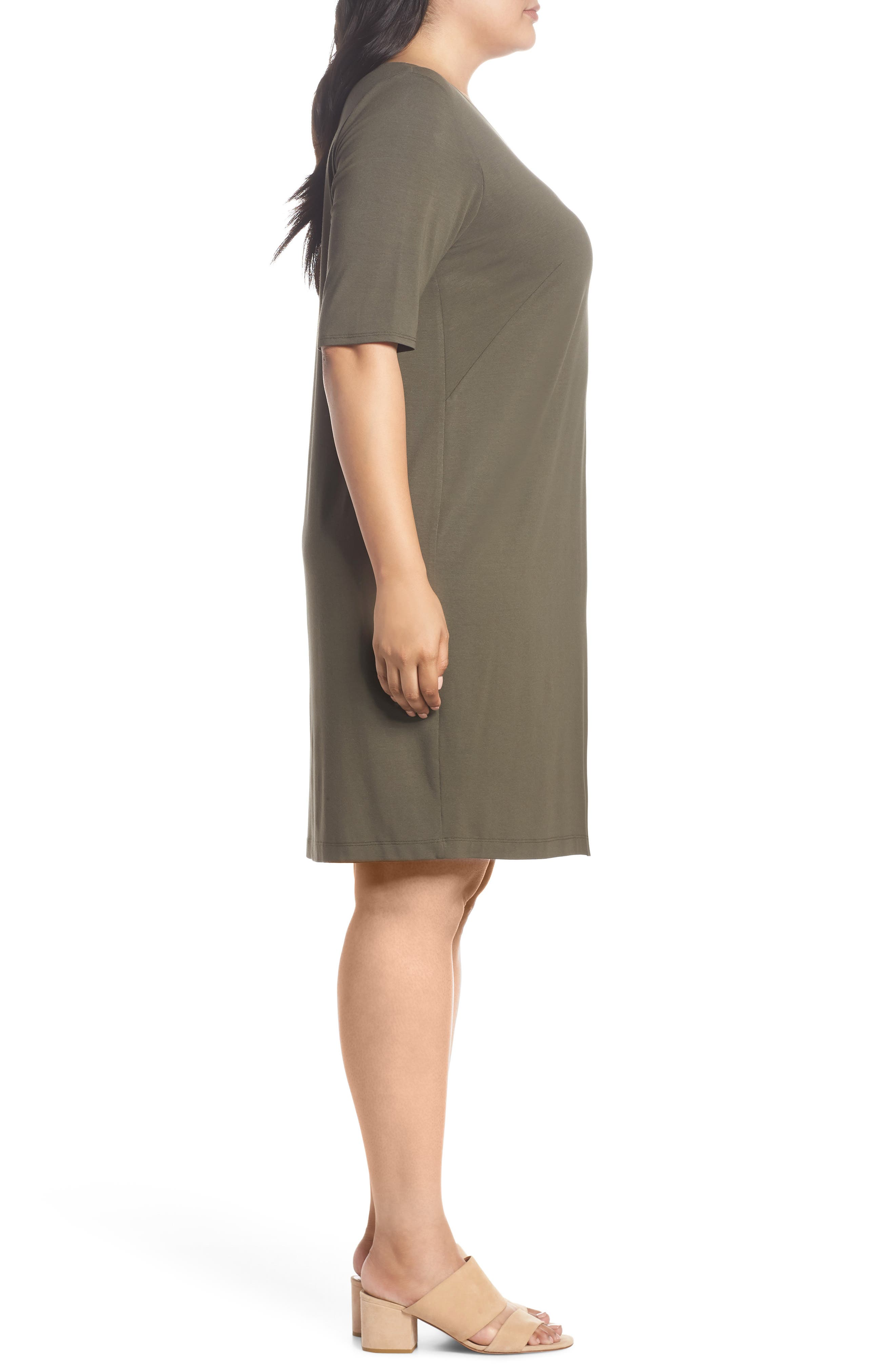 V-Neck Stretch Jersey Shift Dress,                             Alternate thumbnail 3, color,                             Orega