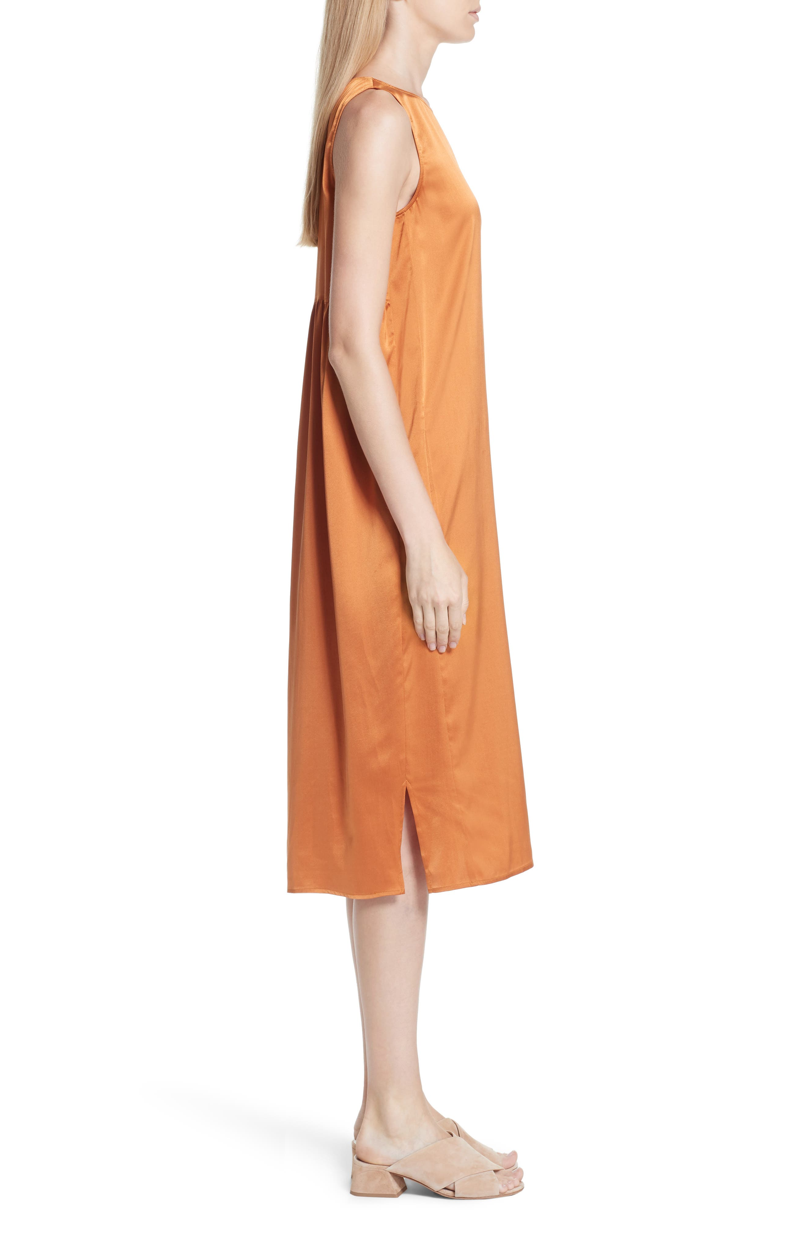 Stretch Silk Tank Dress,                             Alternate thumbnail 5, color,                             Deep Cumin