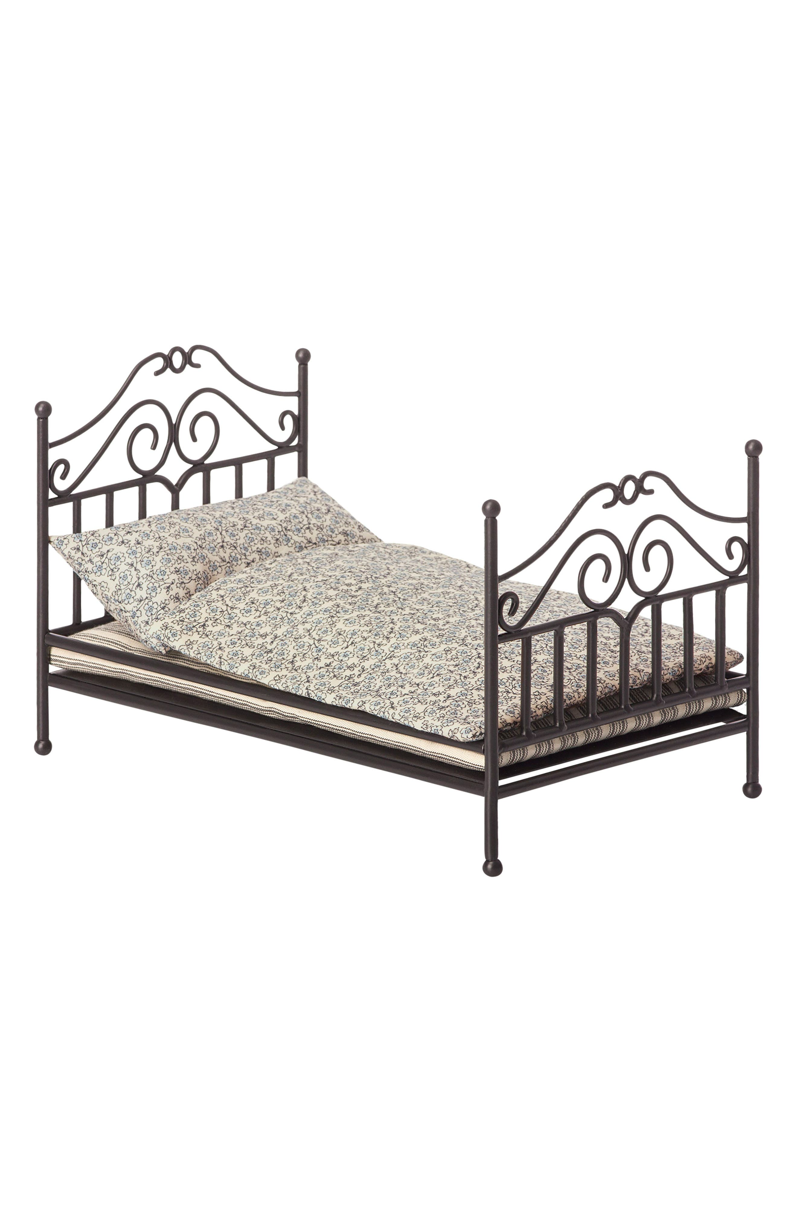 Micro Vintage Bed,                             Main thumbnail 1, color,                             Black With Blue Grey Blanket.