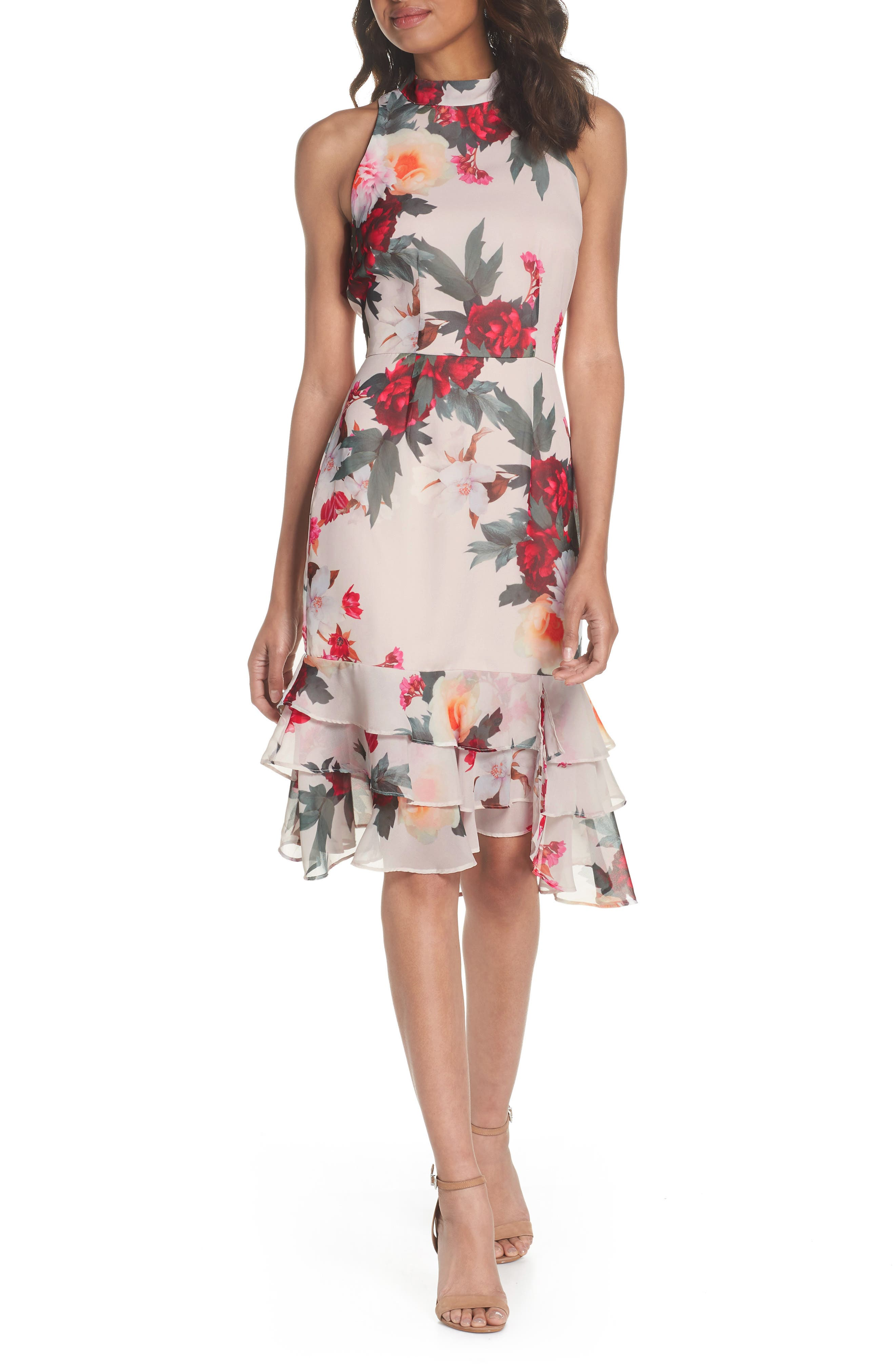 Rosa High Neck Ruffle Hem Dress,                         Main,                         color, Print