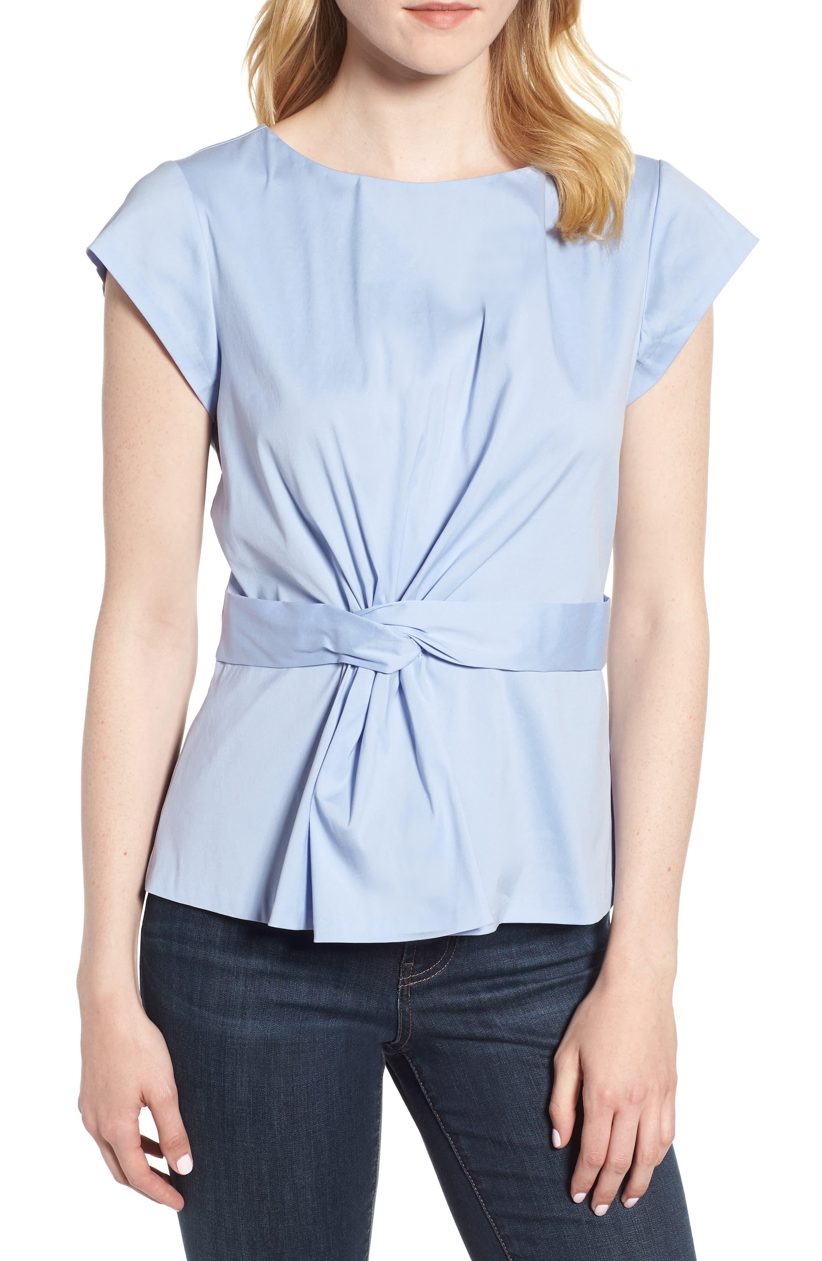 Knot Front Cotton Blend Poplin Blouse,                             Main thumbnail 1, color,                             Blue Stork
