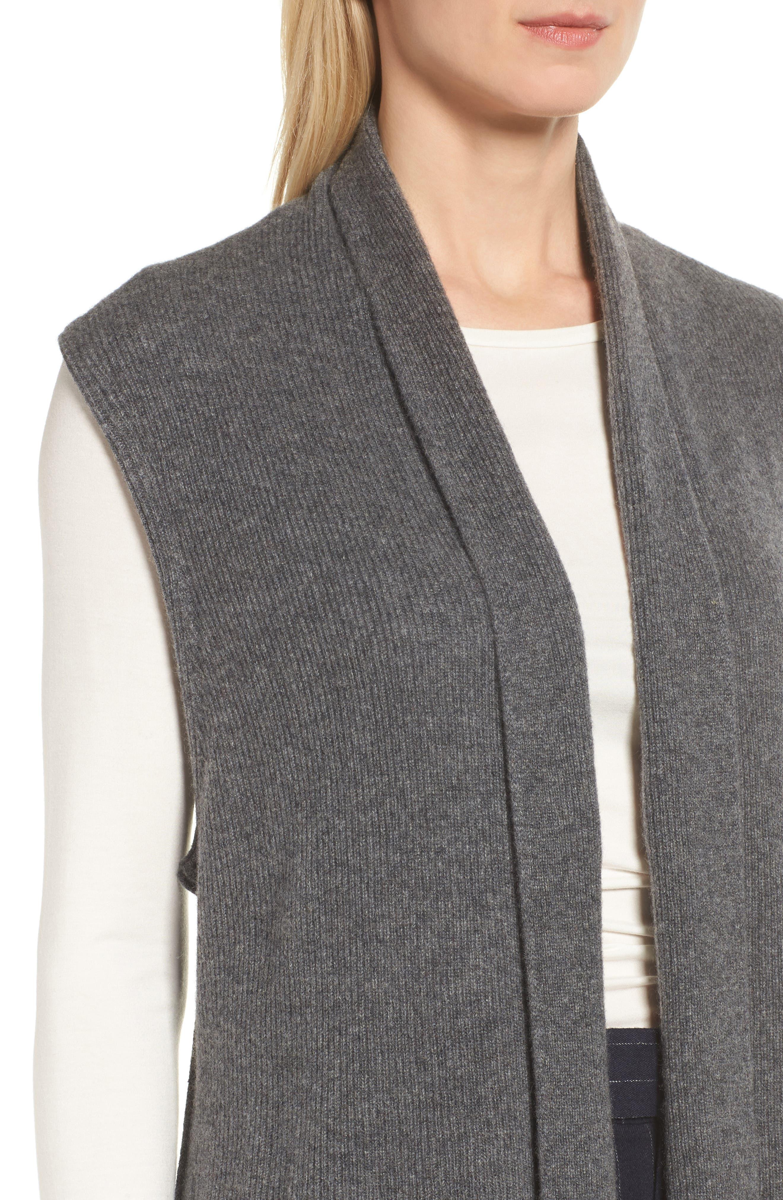Ribbed Cashmere Vest,                             Alternate thumbnail 4, color,                             Grey Dark Heather
