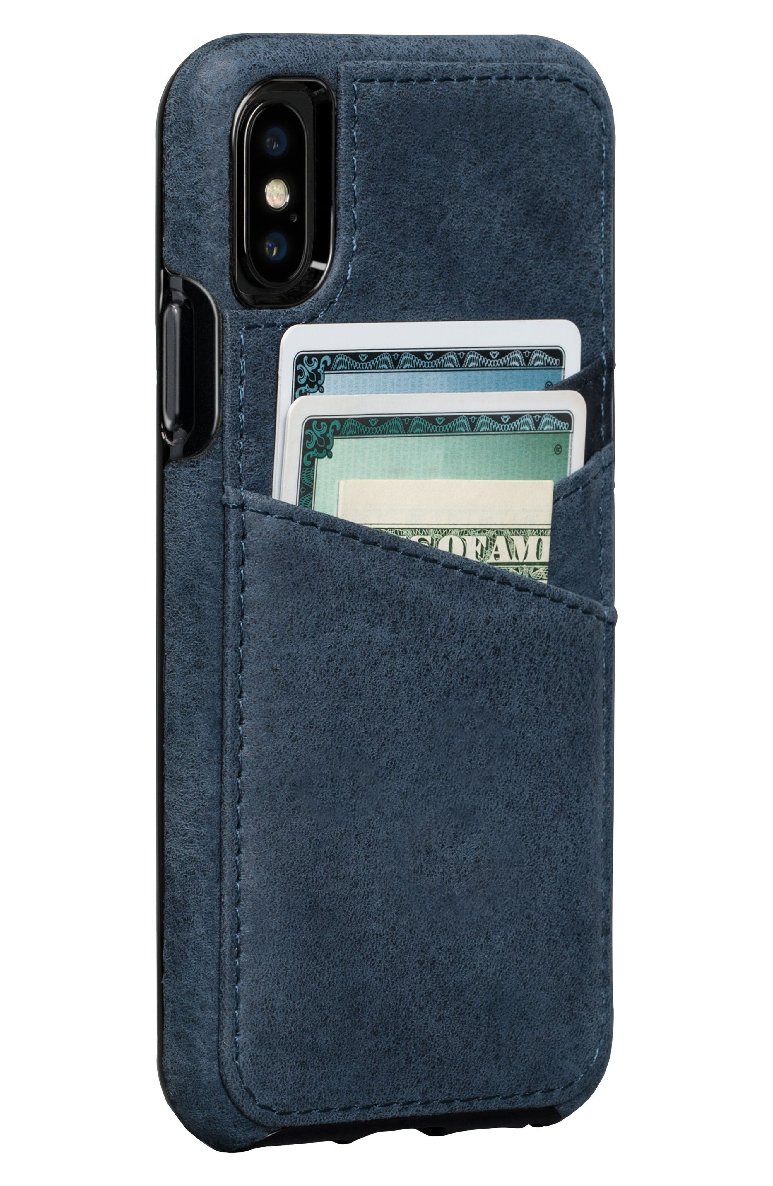 Bence Lugano iPhone X Wallet Case,                             Main thumbnail 1, color,                             Denim