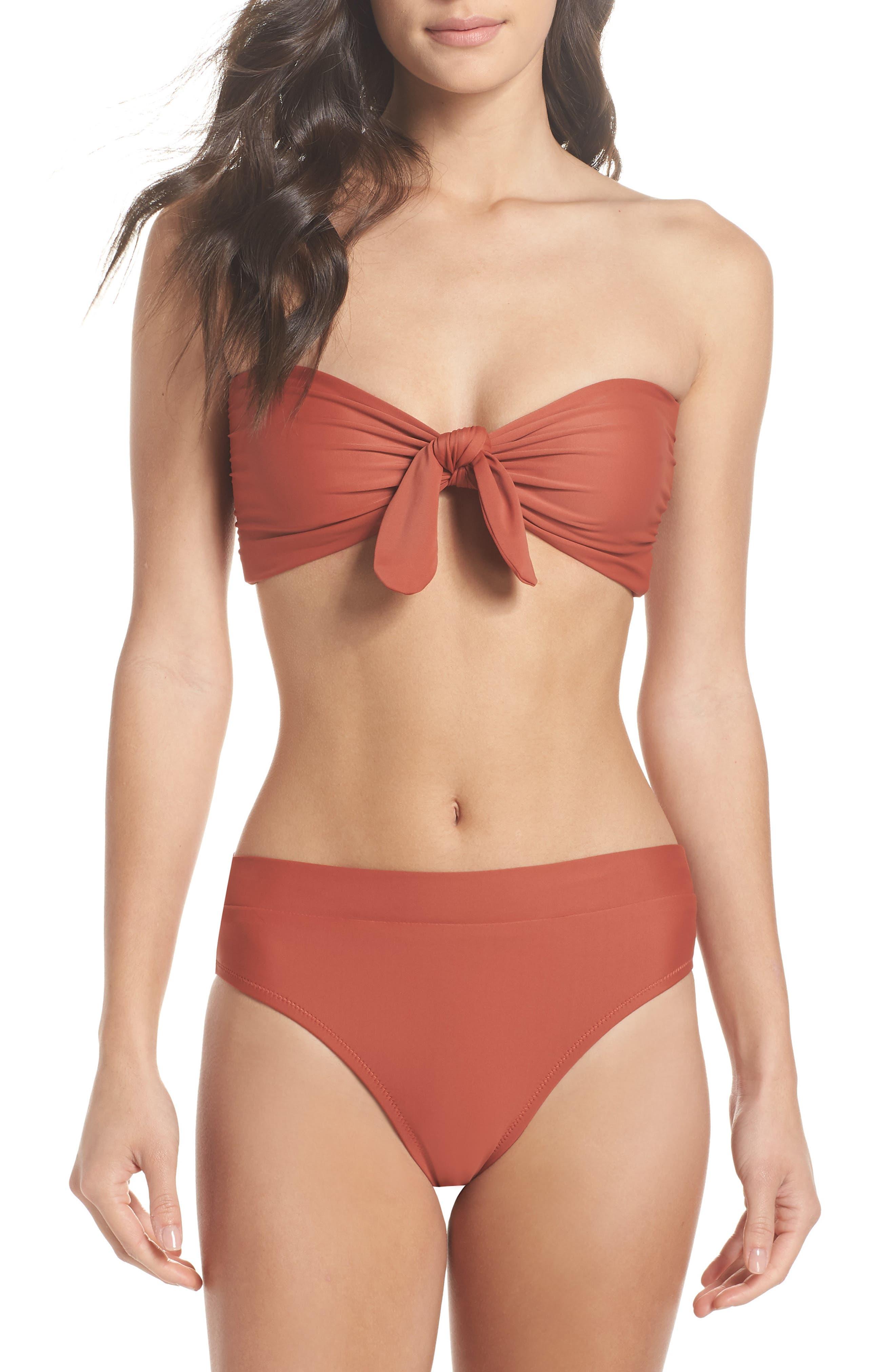 Fairfax Bandeau Bikini Top,                             Alternate thumbnail 5, color,                             Copper