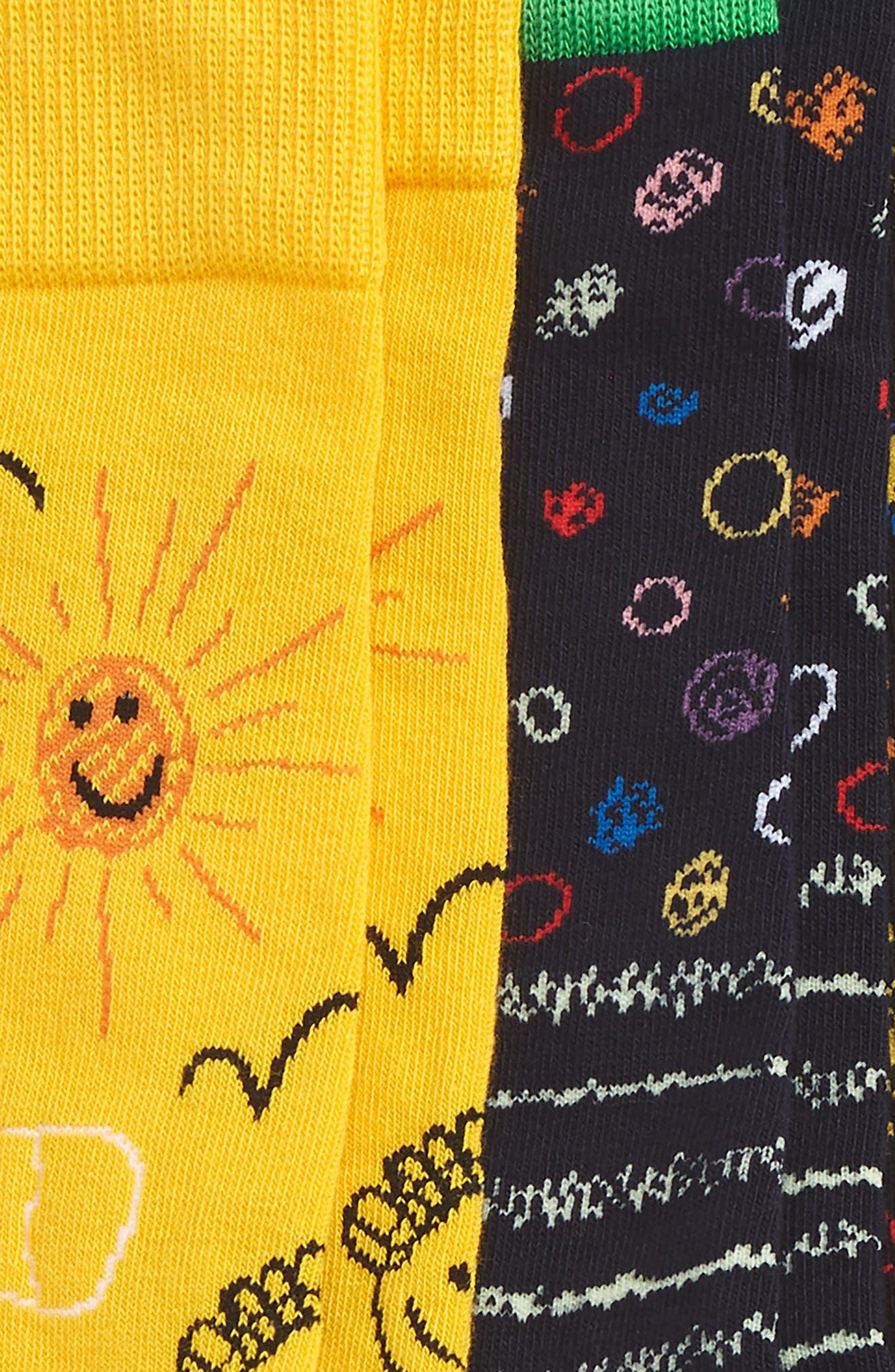 I Love You Dad 3-Pack Socks,                             Alternate thumbnail 2, color,                             Black/ Yellow Multi