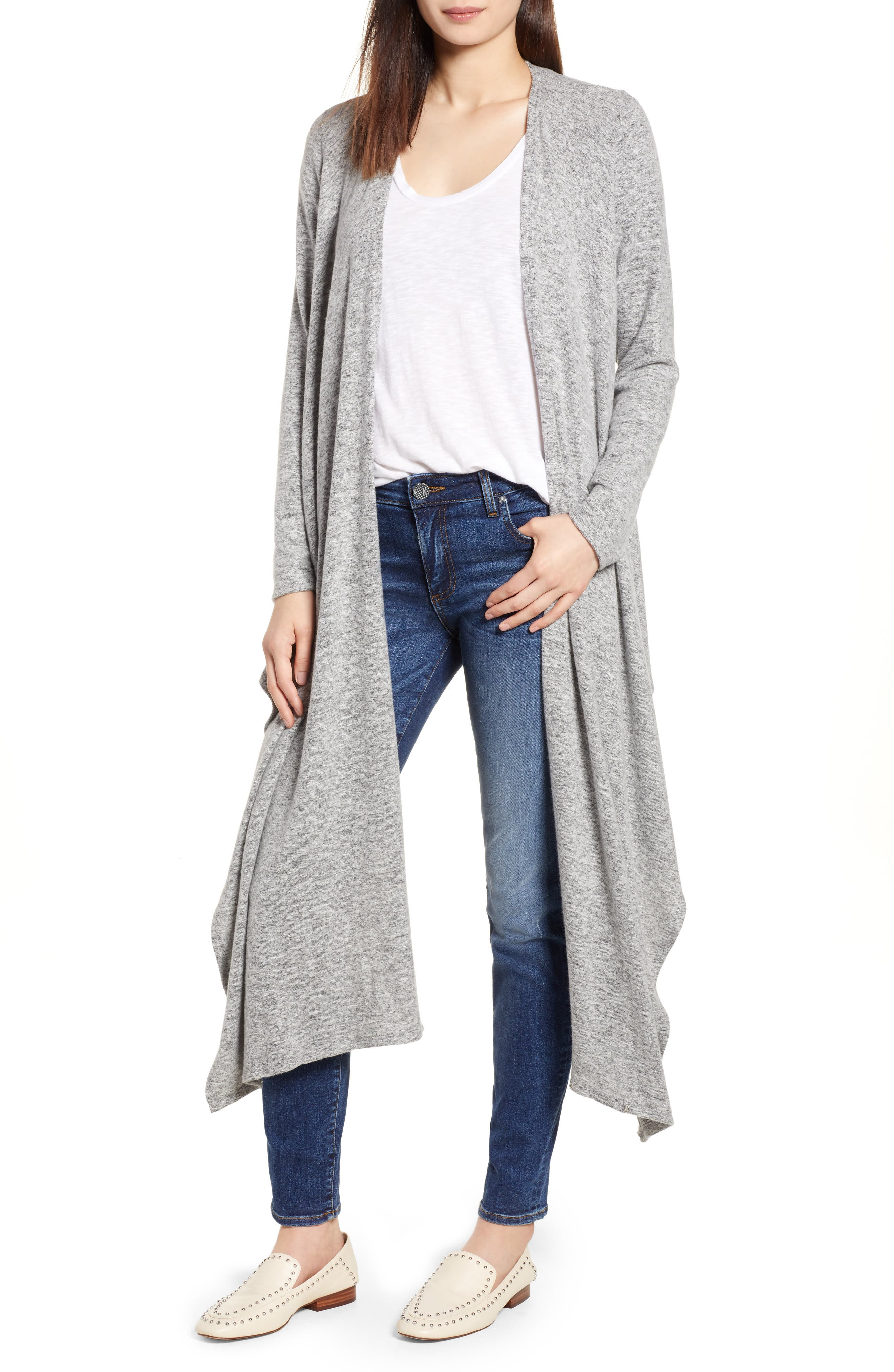 Convertible Cozy Fleece Wrap Cardigan,                             Alternate thumbnail 6, color,                             Heather Grey