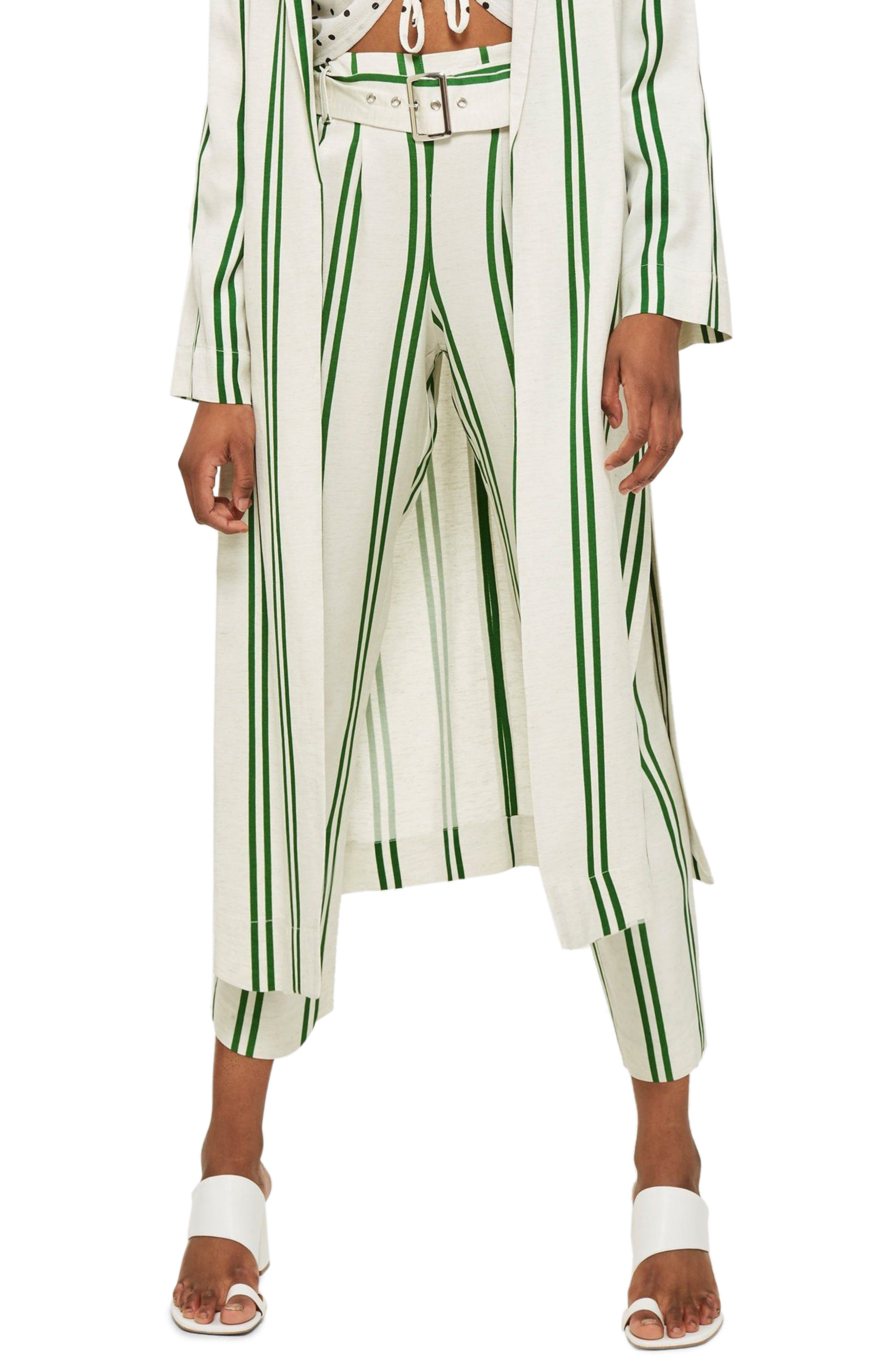 Dolly Stripe Tapered Trousers,                             Main thumbnail 1, color,                             Green Multi