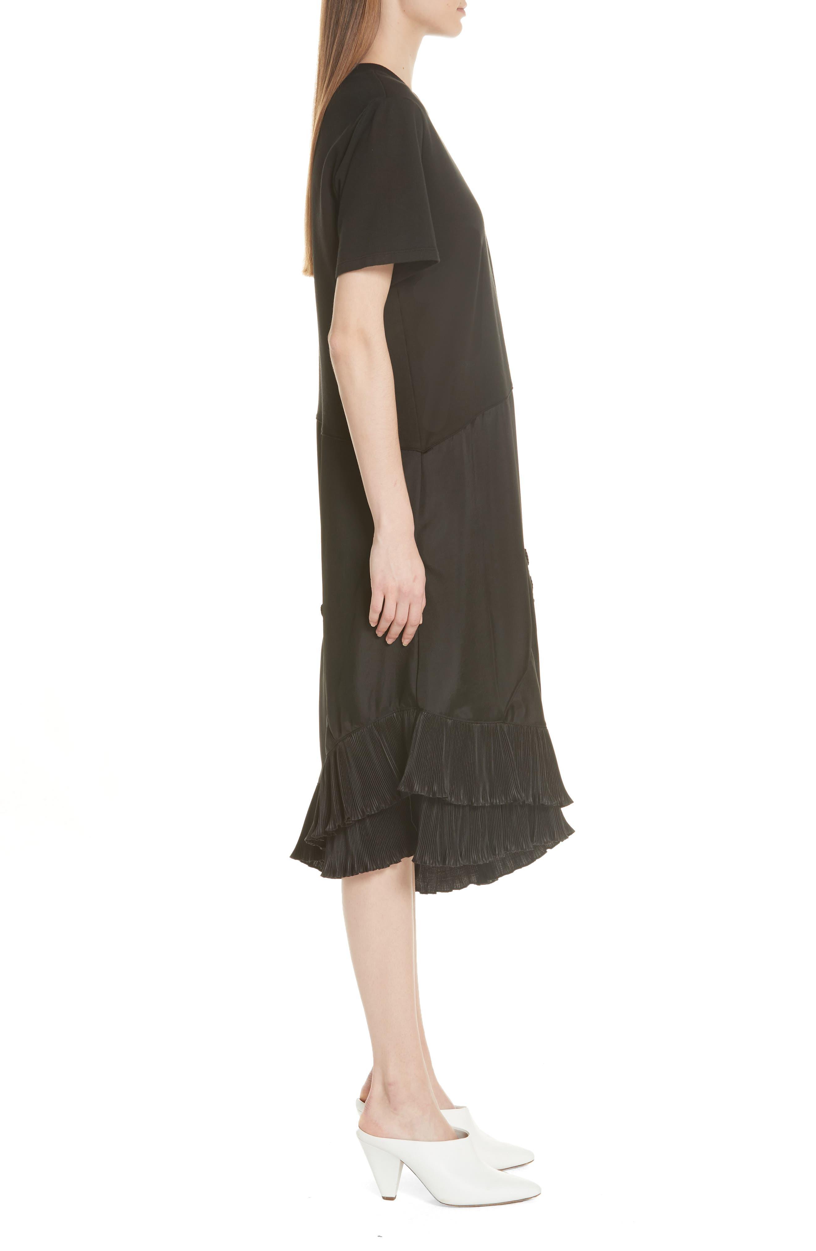Pleat Ruffle Trim Asymmetrical Dress,                             Alternate thumbnail 3, color,                             Black/ Black