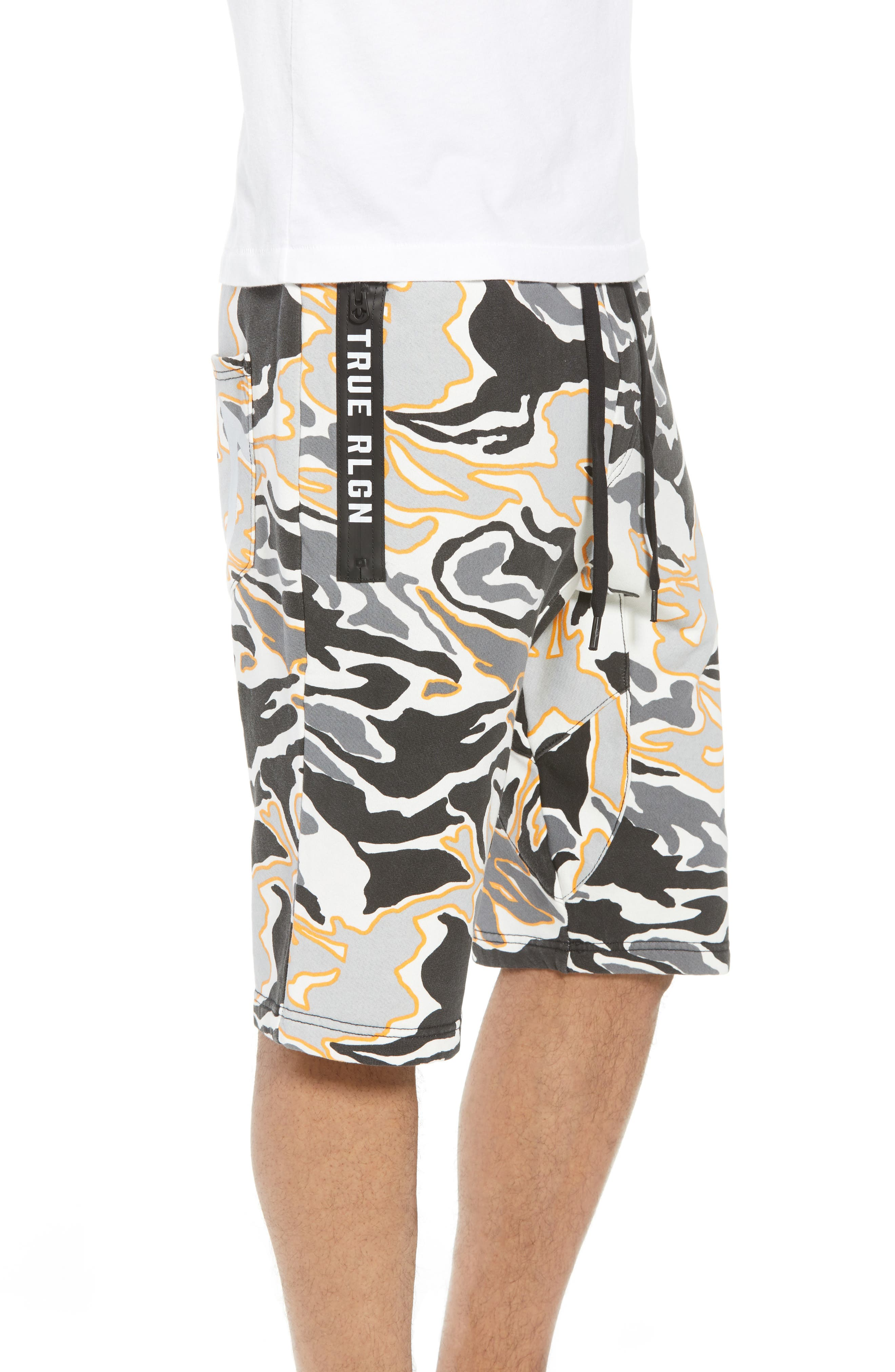 Exposed Zip Sweat Shorts,                             Alternate thumbnail 3, color,                             Multi Grey Camo