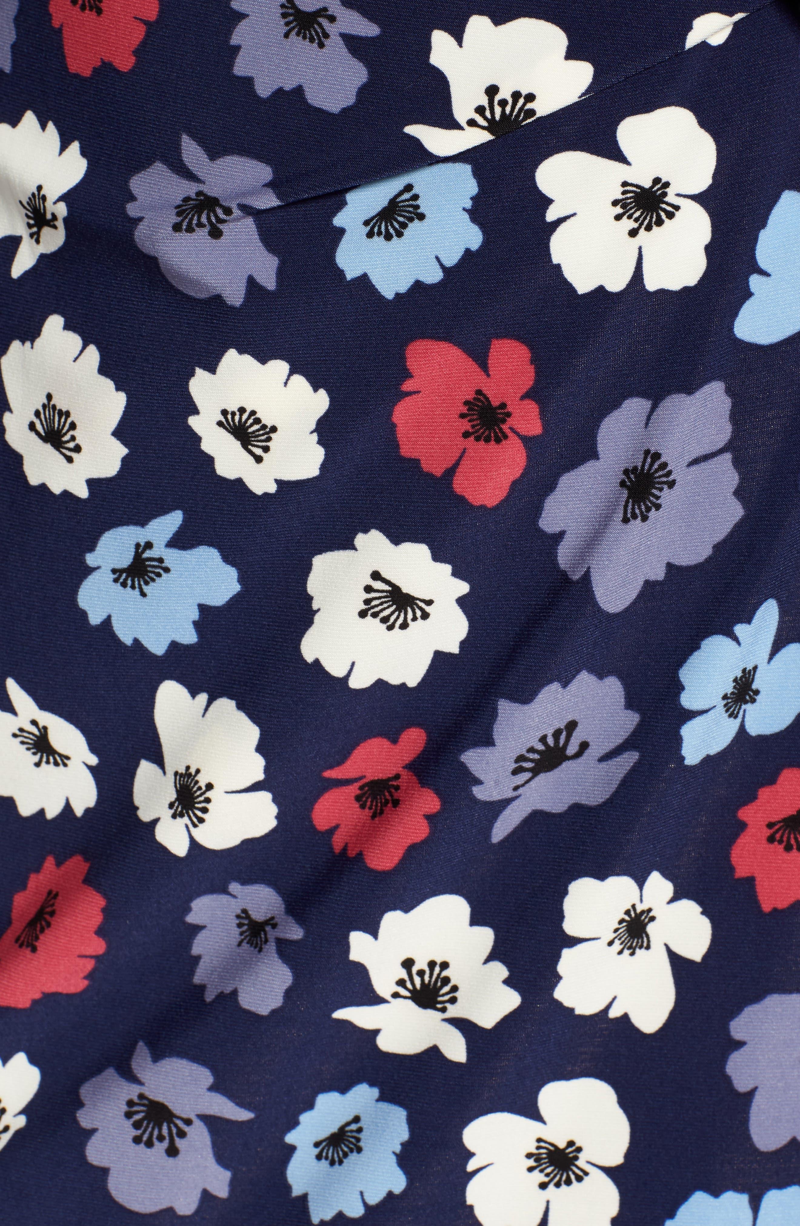 Floral Faux Wrap Dress,                             Alternate thumbnail 6, color,                             Eclipse/ Breton Red Combo