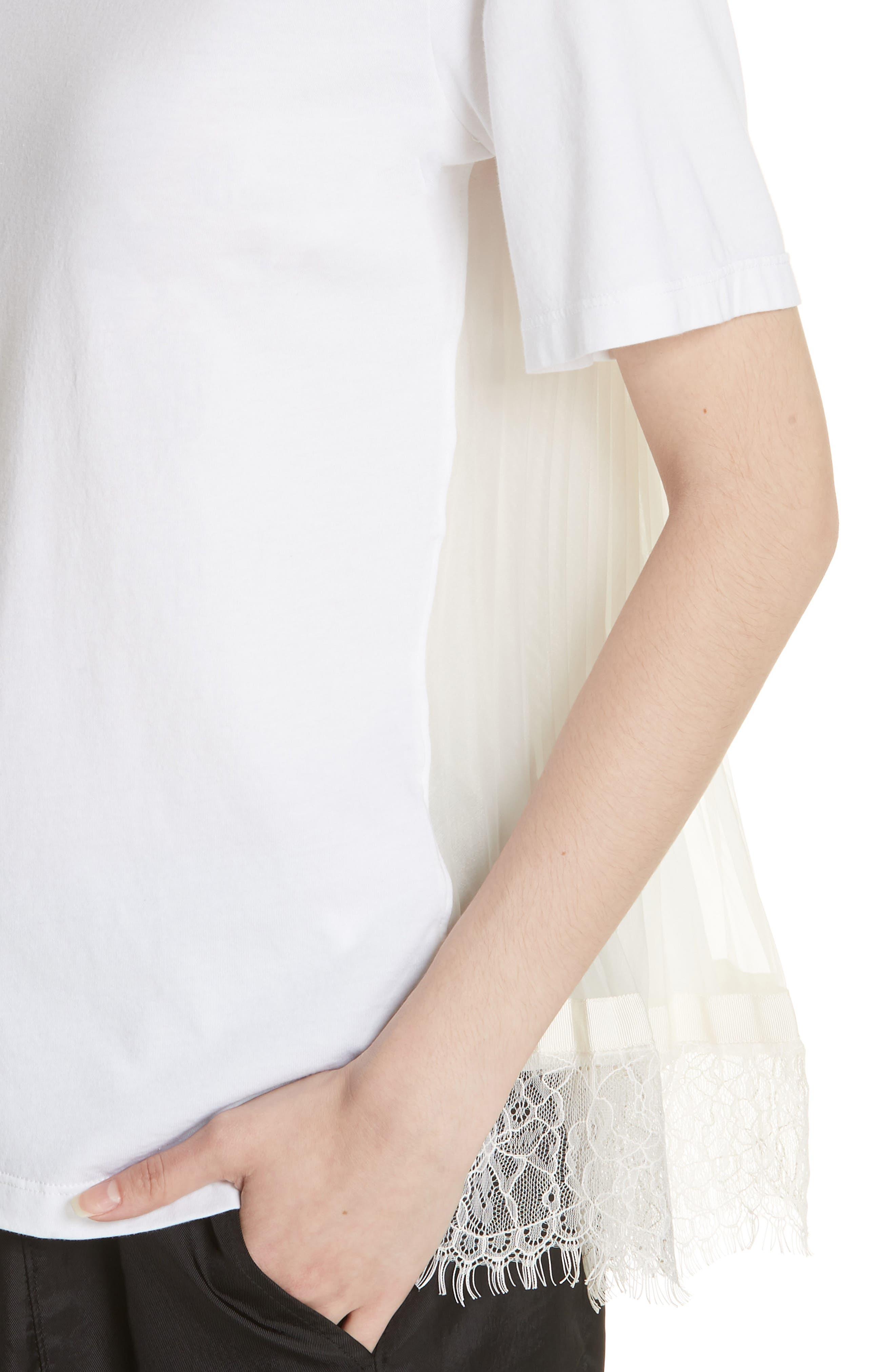 Lace Trim Pleat Back Top,                             Alternate thumbnail 3, color,                             White