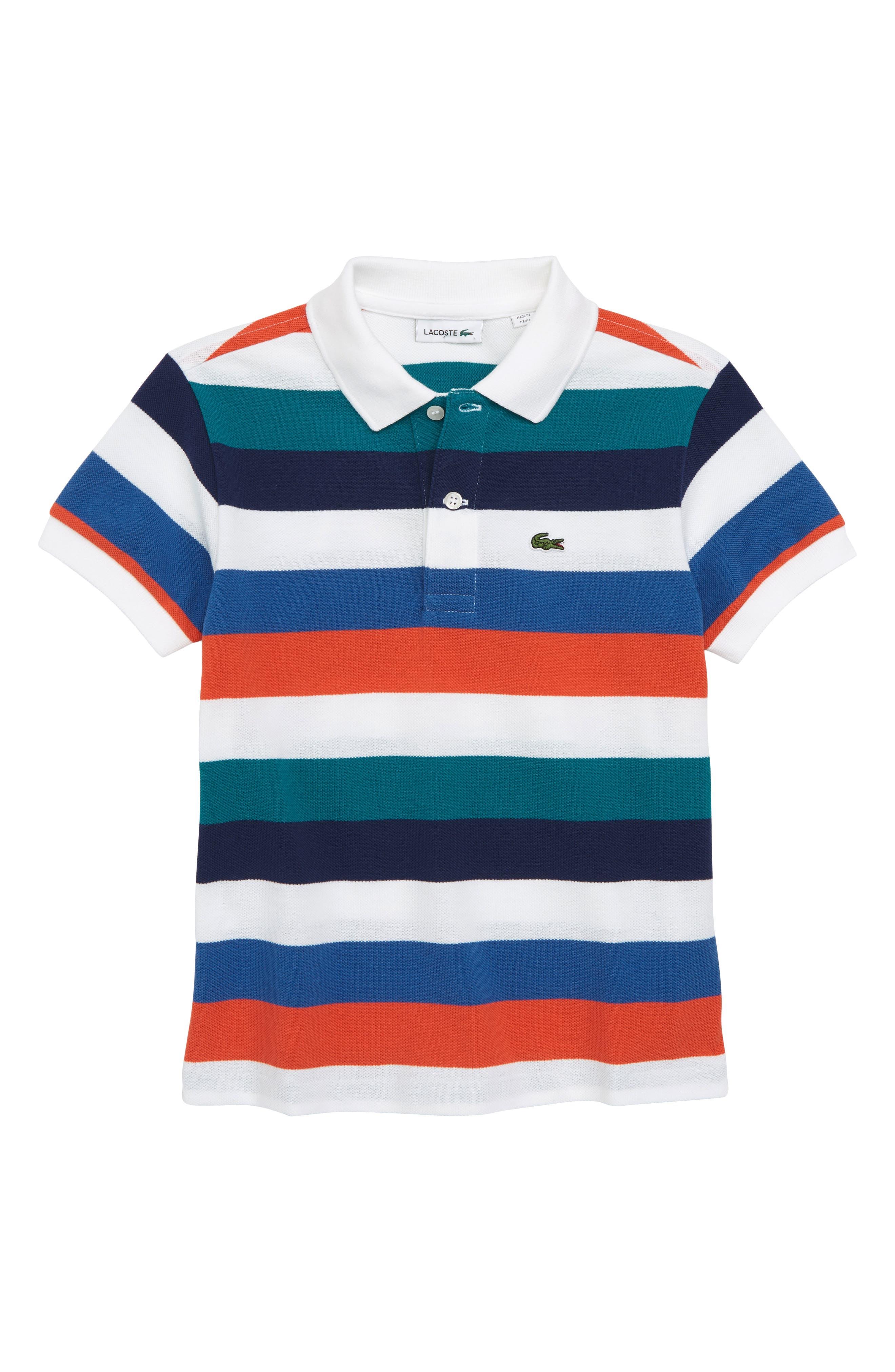 Multicolor Stripe Polo,                         Main,                         color, White/ Dragonfly/ Maritime