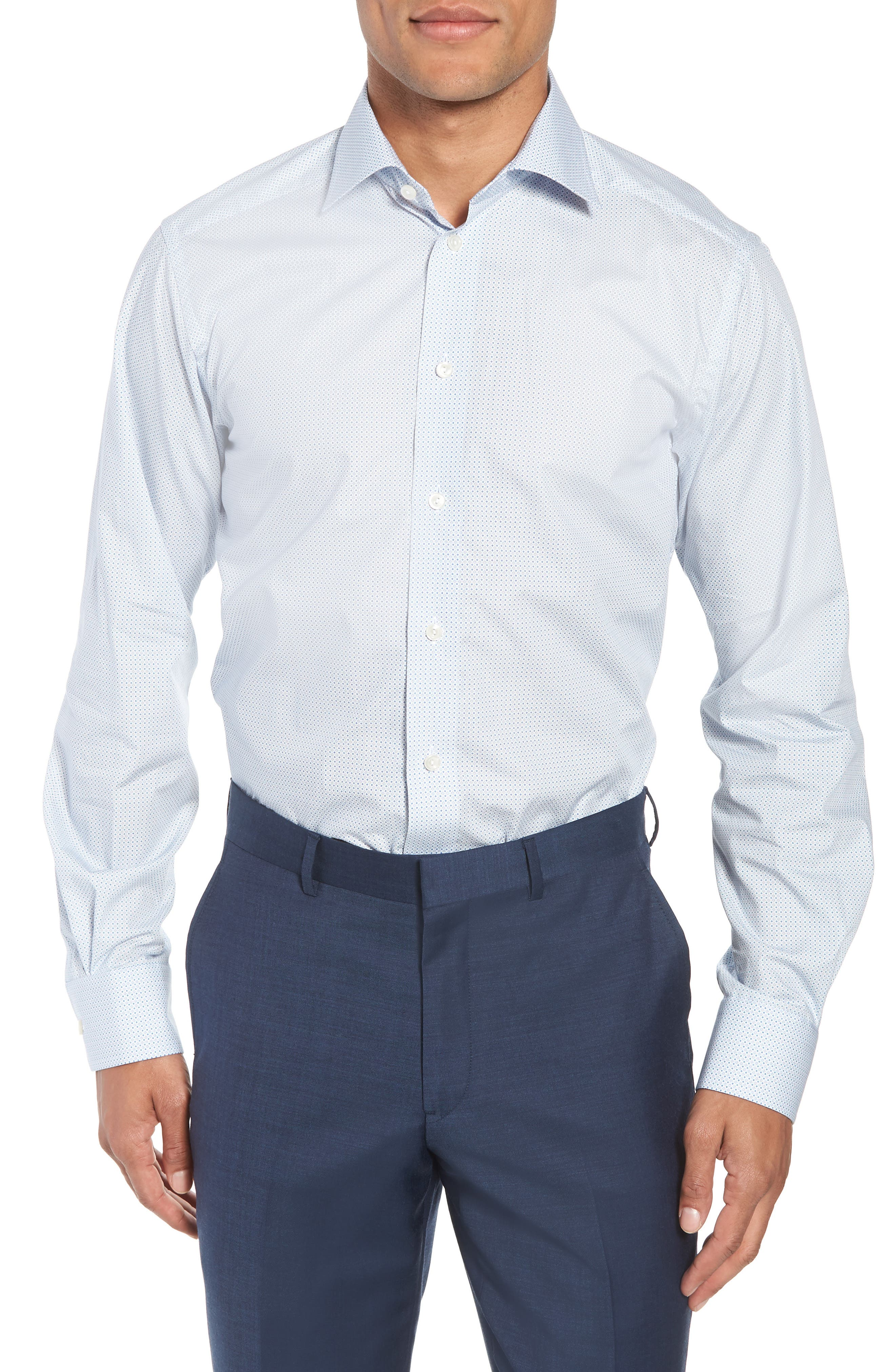 Contemporary Fit Geometric Dress Shirt,                         Main,                         color, Blue