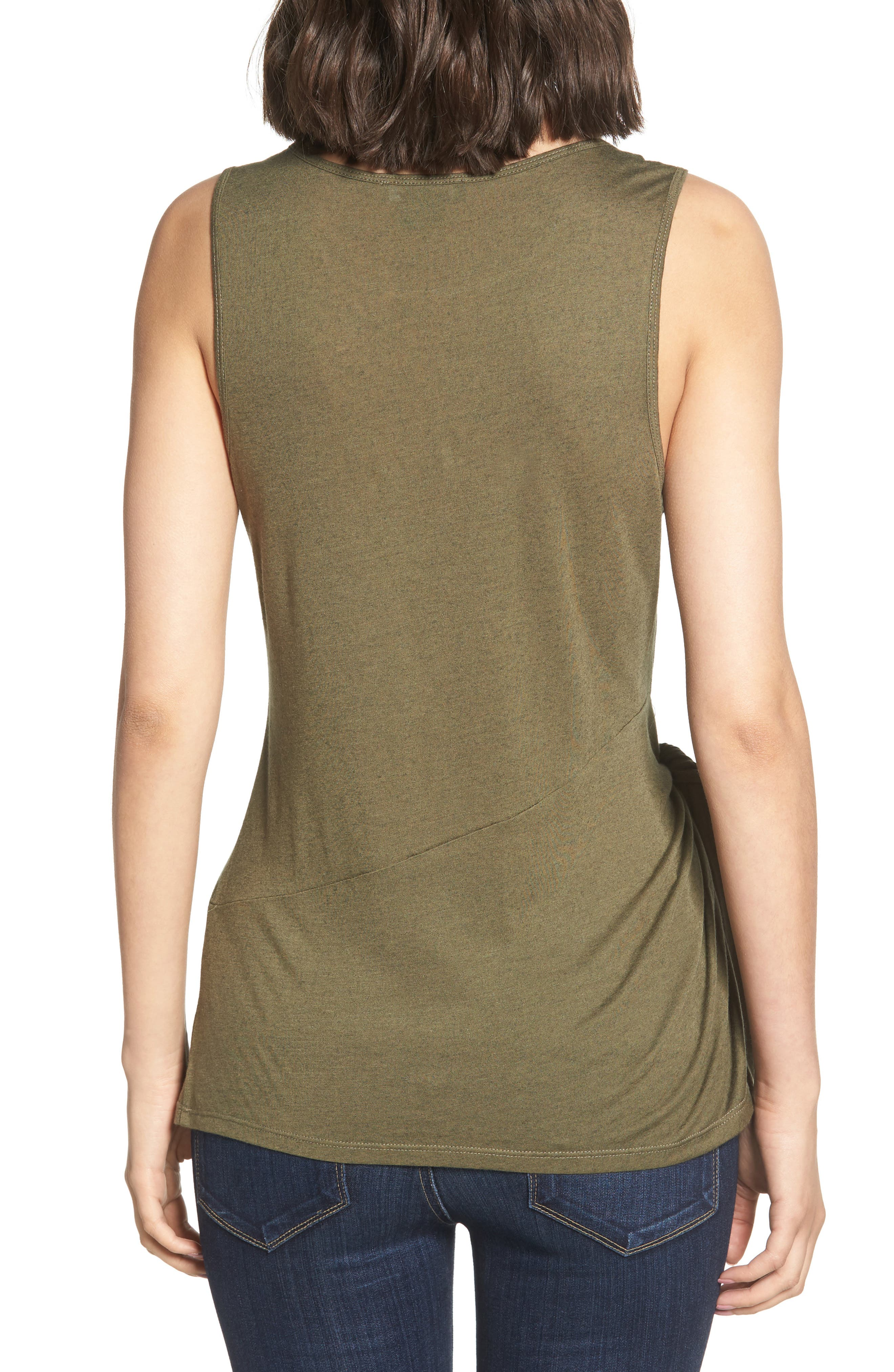 Side Tie Knit Top,                             Alternate thumbnail 2, color,                             Olive Sarma