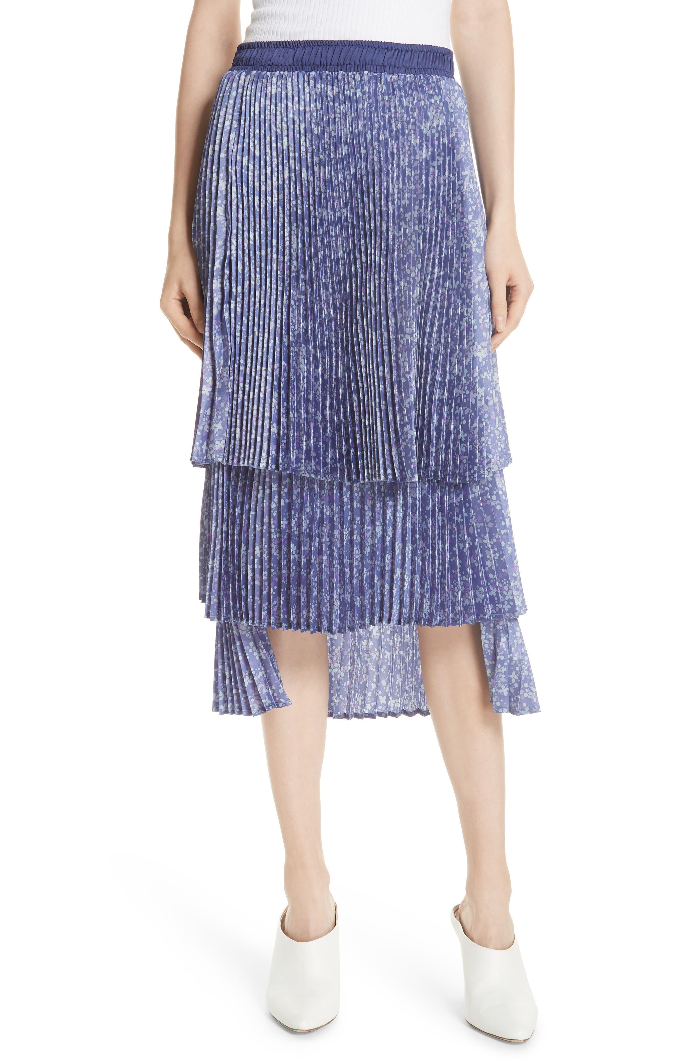 Floral Pleat Skirt,                         Main,                         color, Blue