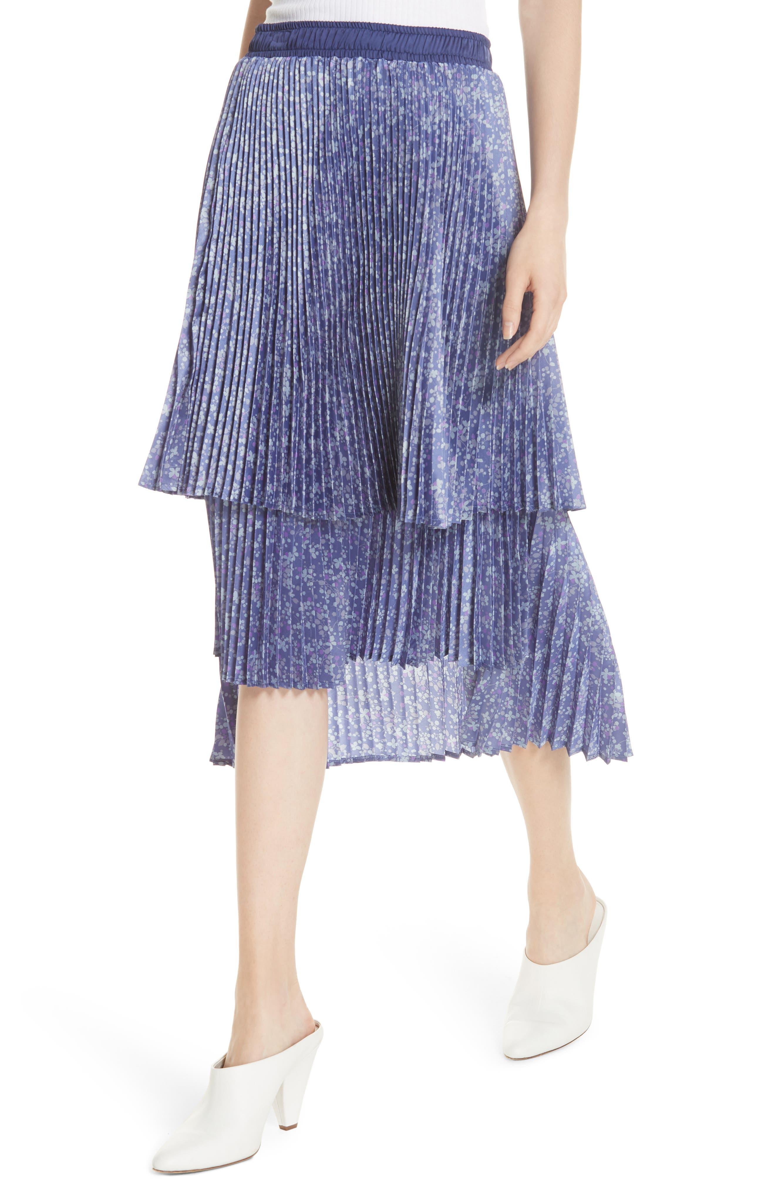 Floral Pleat Skirt,                             Alternate thumbnail 4, color,                             Blue