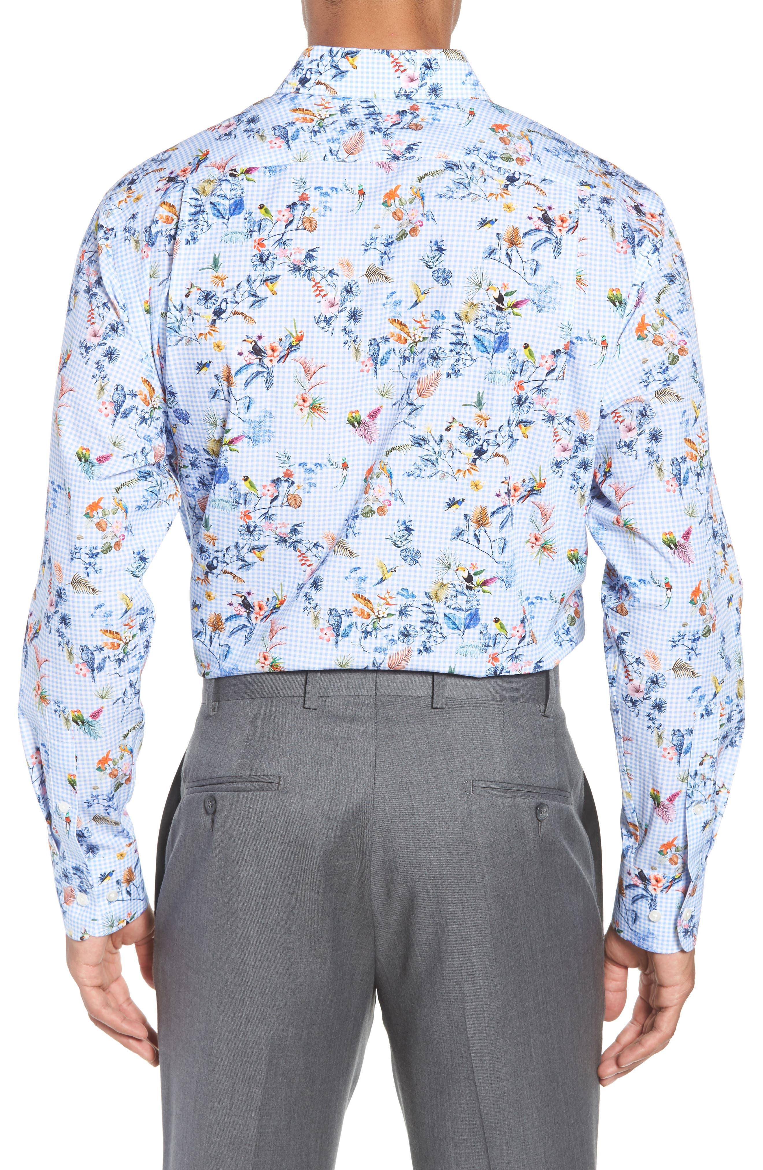 Trim Fit Floral Dress Shirt,                             Alternate thumbnail 3, color,                             Blue Cornflower