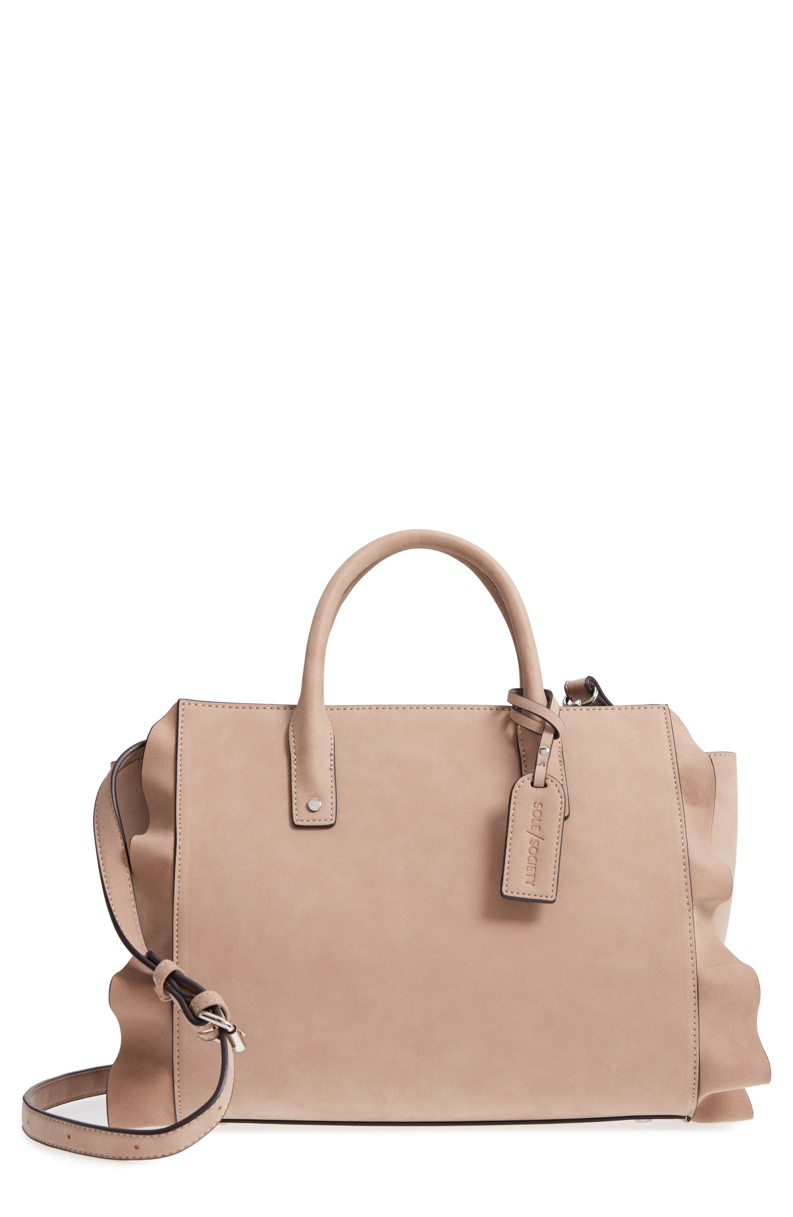 Faux Leather Satchel,                         Main,                         color, Taupe