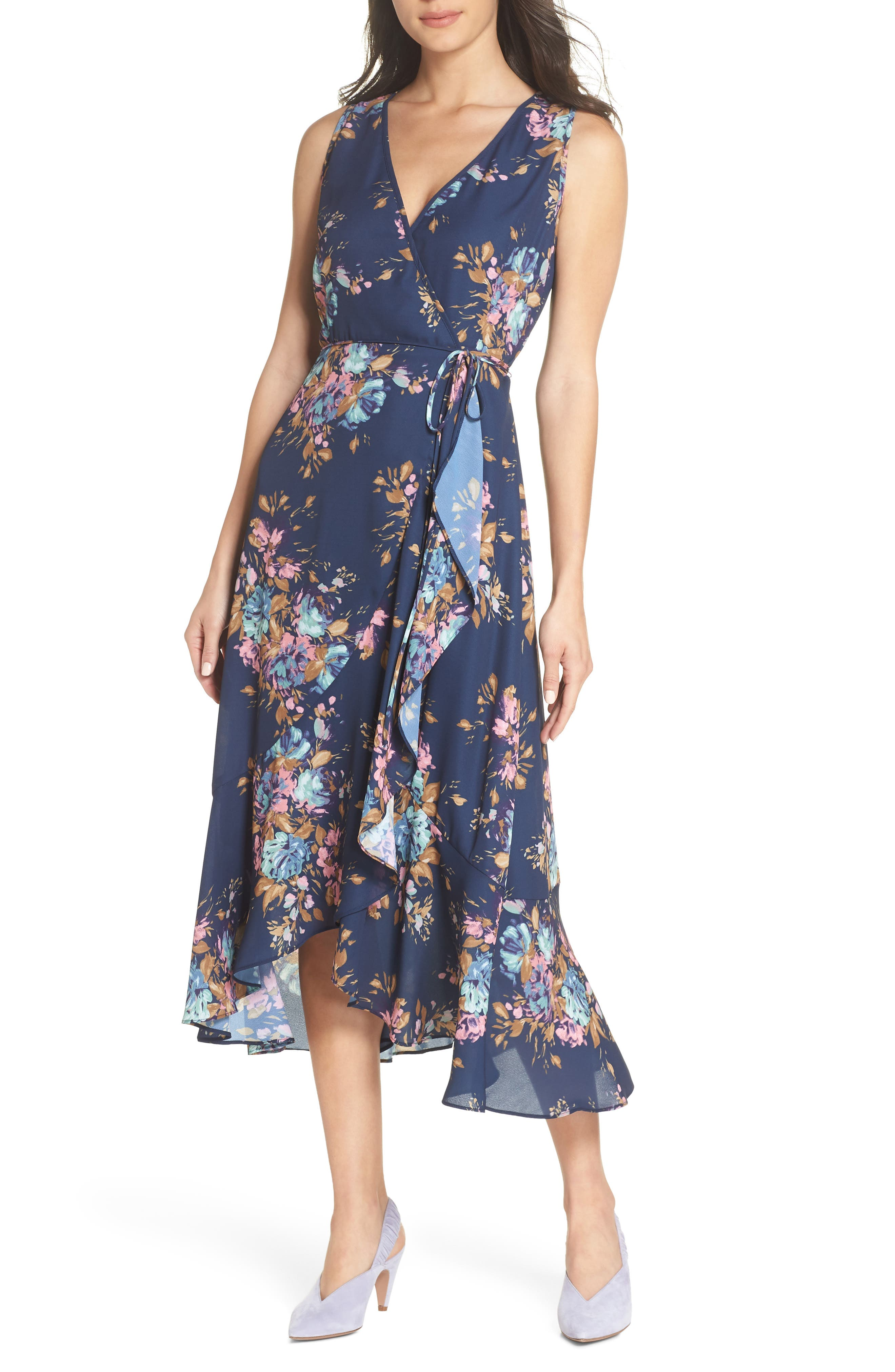 Floral Sleeveless Wrap Dress,                         Main,                         color, Navy Floral