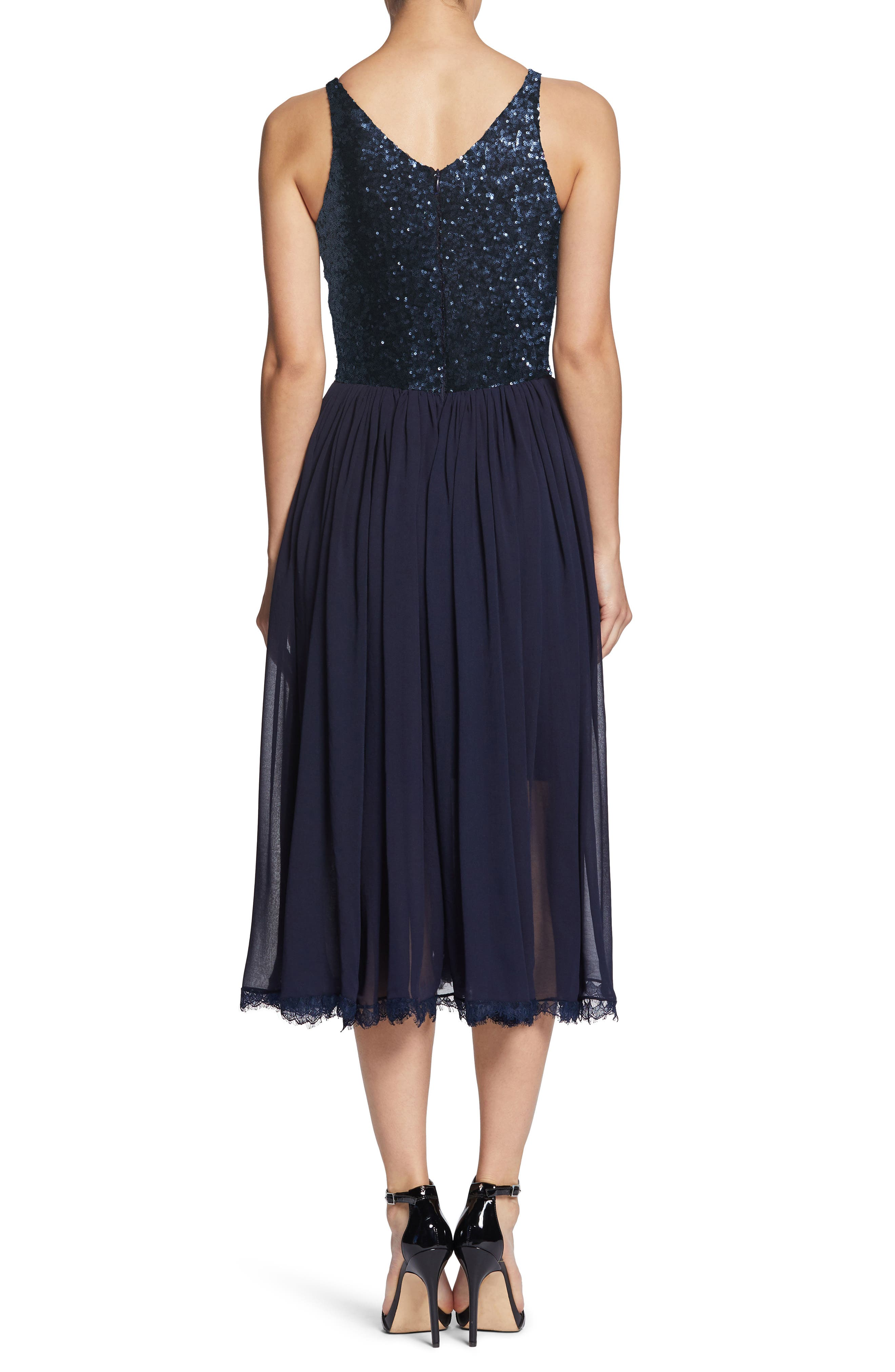 Tracy Plunging Sequin Bodice Tea Length Dress,                             Alternate thumbnail 2, color,                             Navy