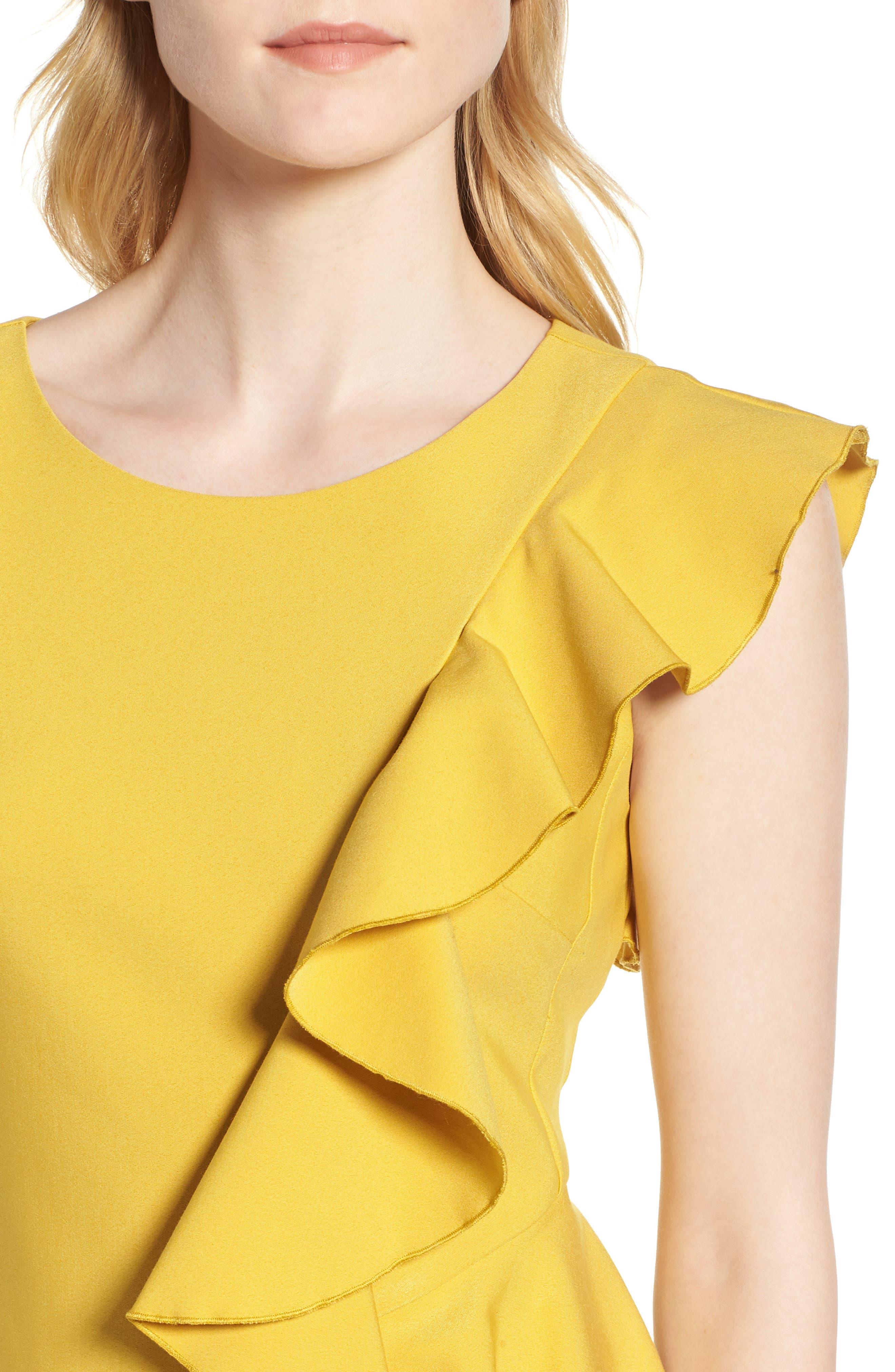 Ruffle Trim Sheath Dress,                             Alternate thumbnail 4, color,                             Yellow Tea