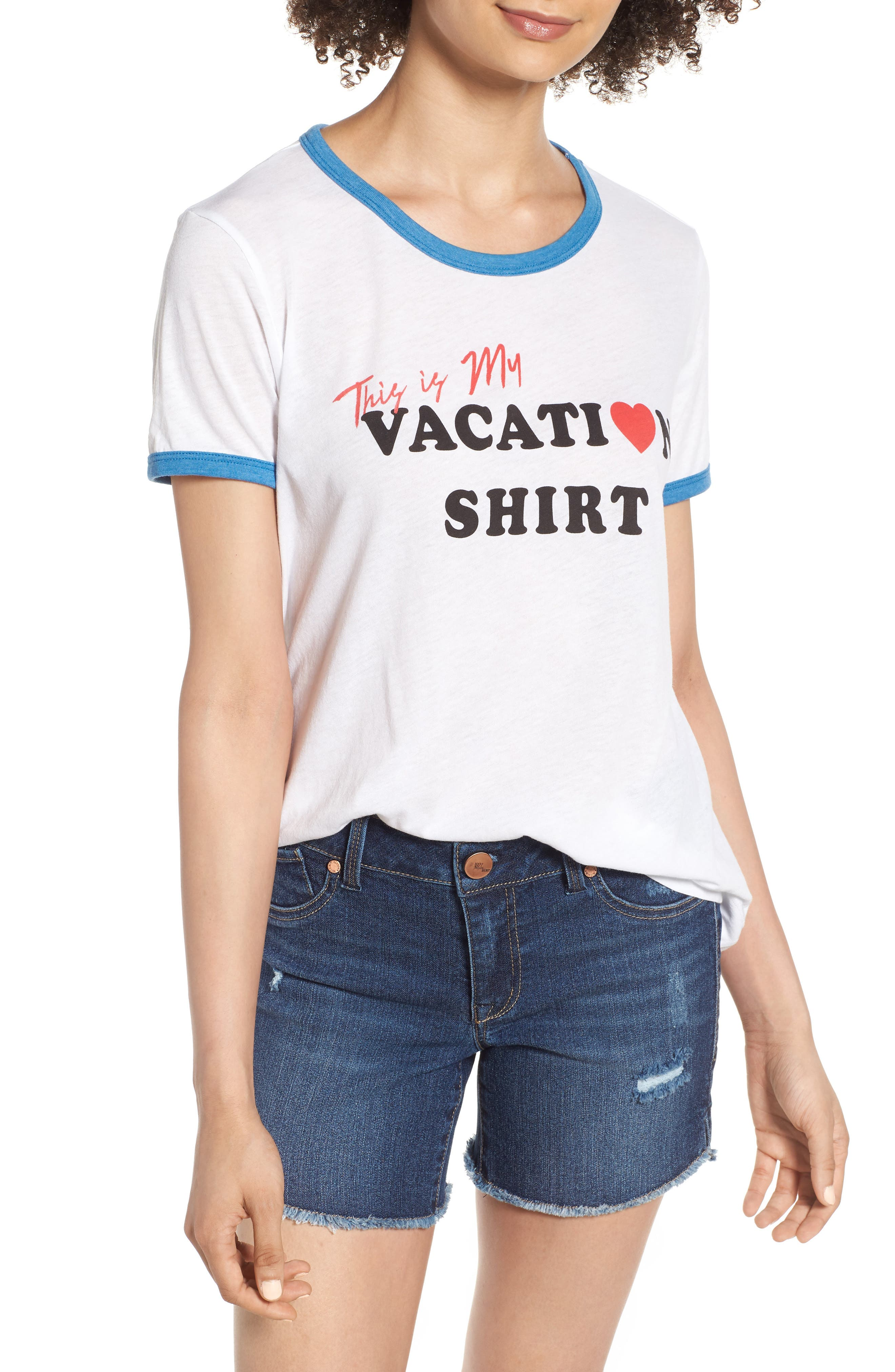 Vacation Johnny Ringer Tee,                             Main thumbnail 1, color,                             Clean White