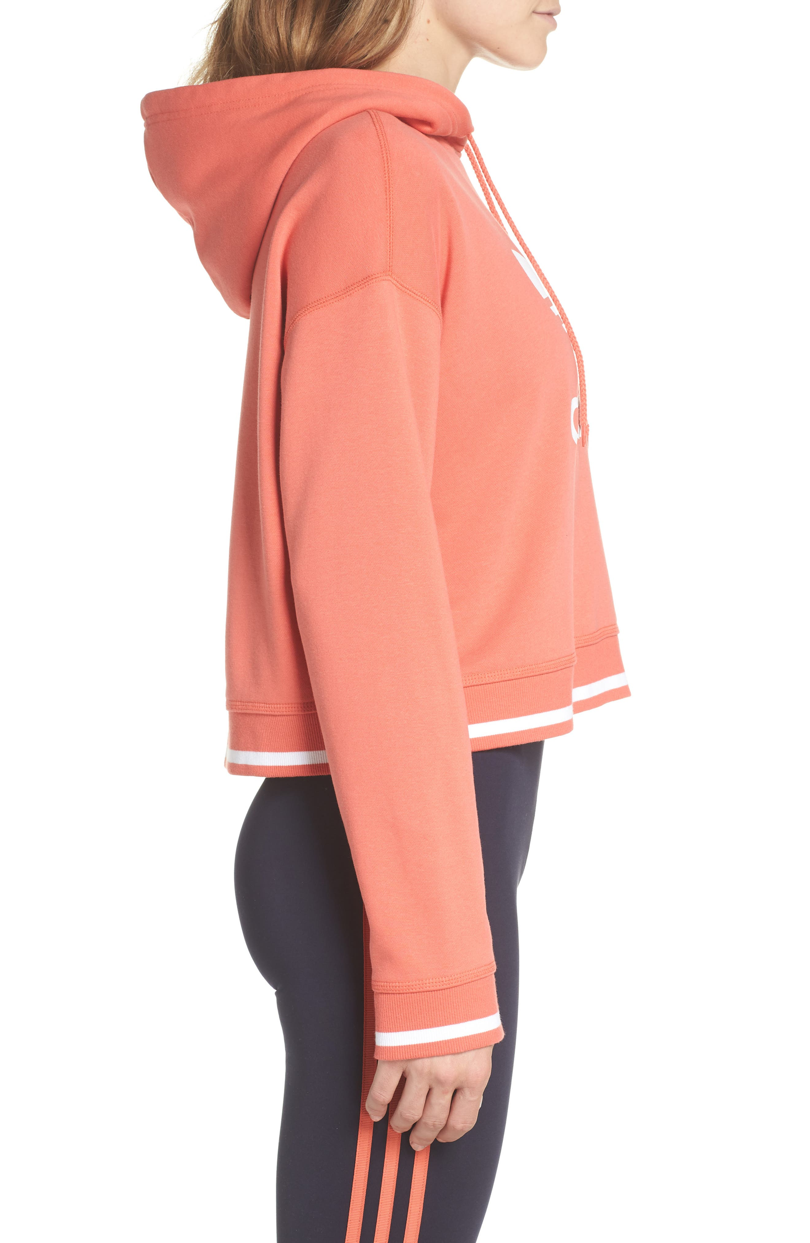 Active Icons Cropped Hoodie,                             Alternate thumbnail 3, color,                             Trace Scarlet