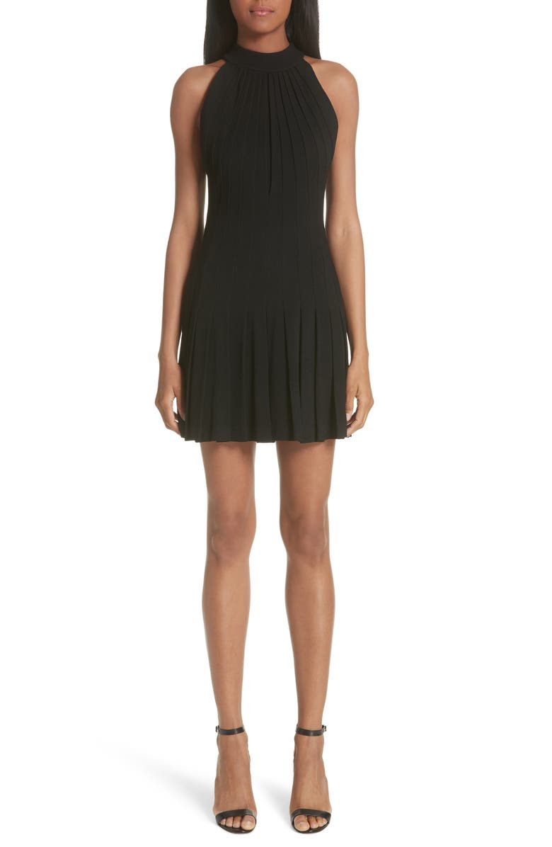 Pleated Pebble Crepe Halter Dress