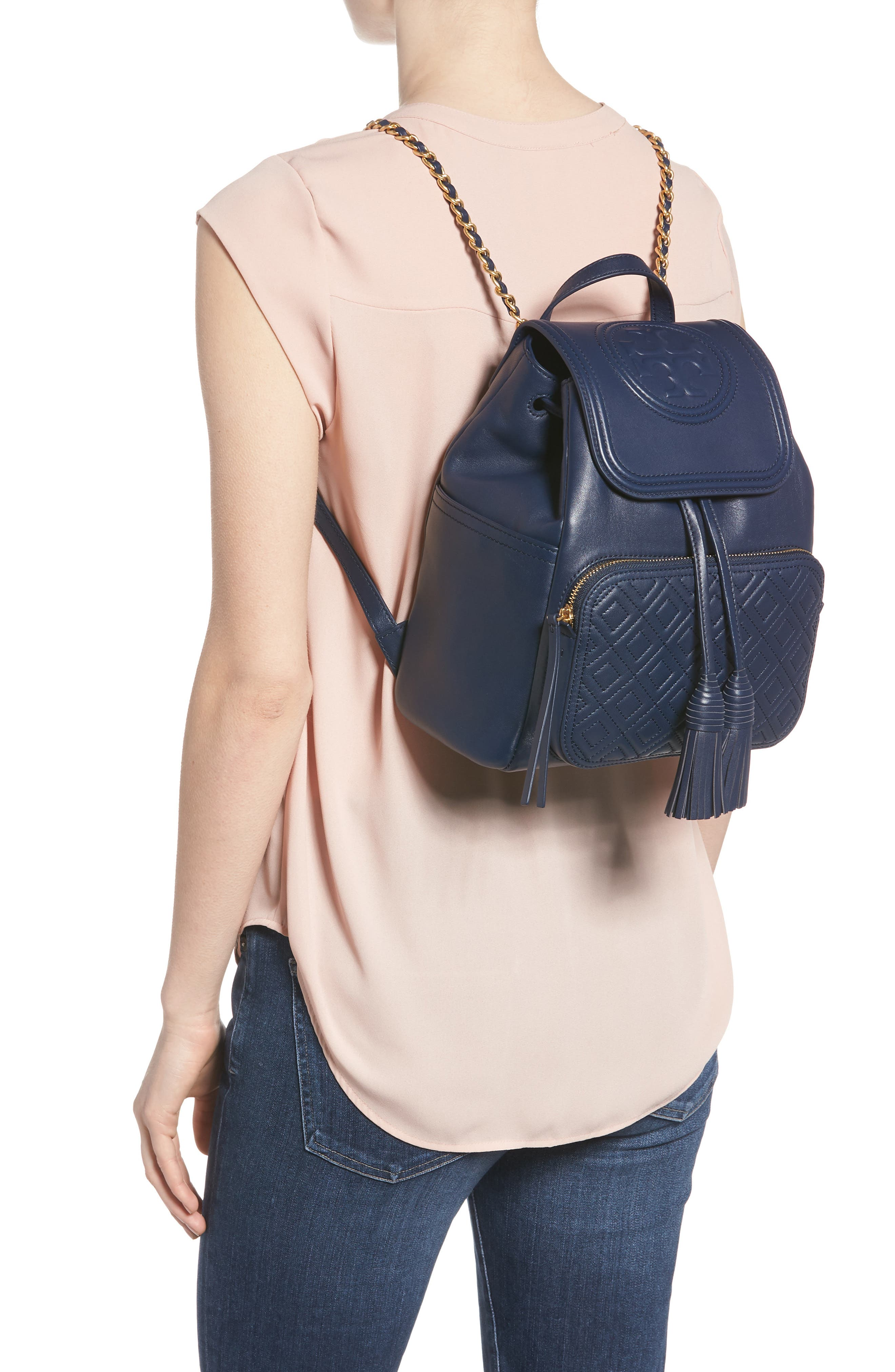 Fleming Lambskin Leather Backpack,                             Alternate thumbnail 2, color,                             Royal Navy