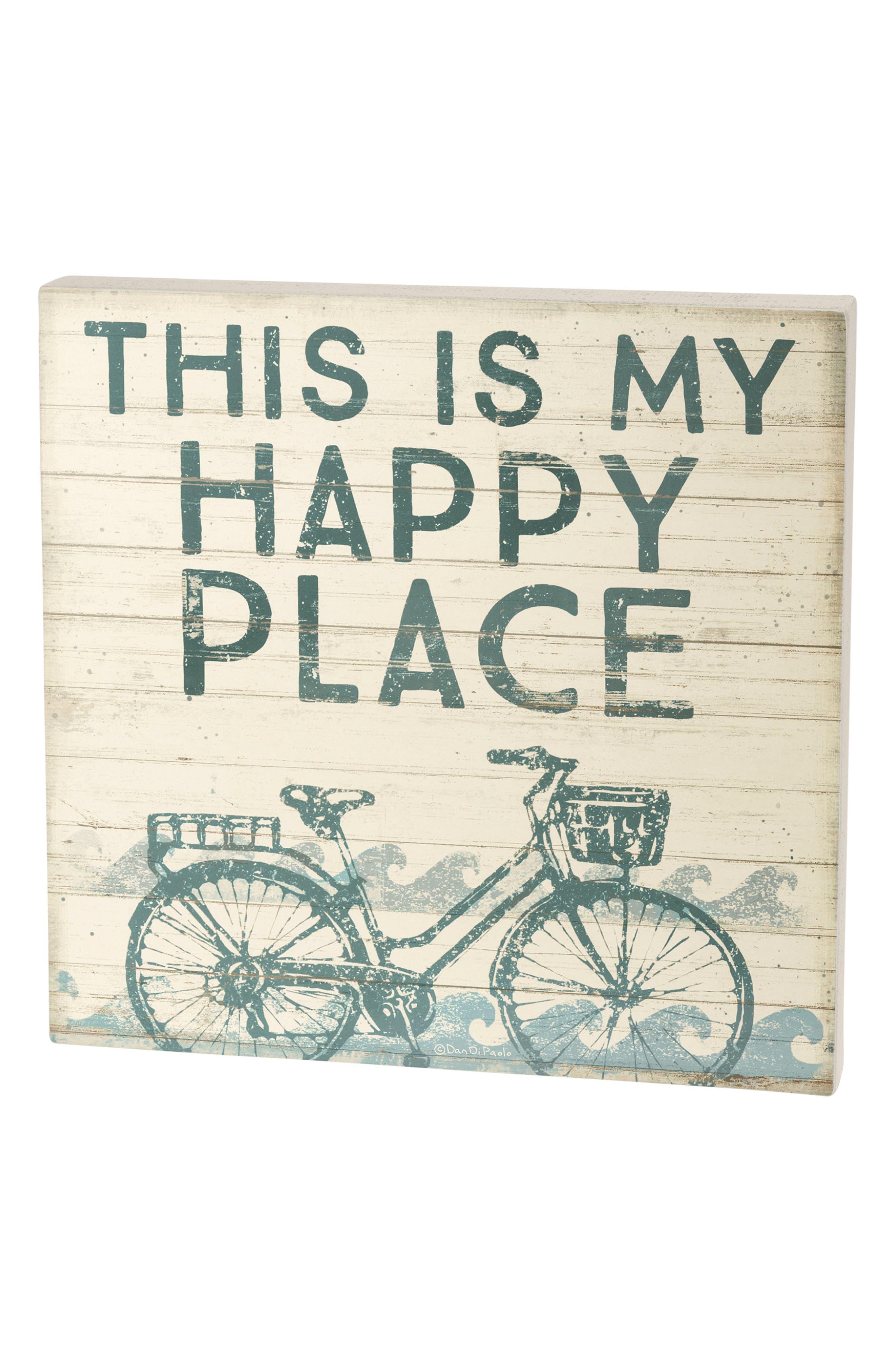 Happy Place Box Sign,                         Main,                         color, Blue