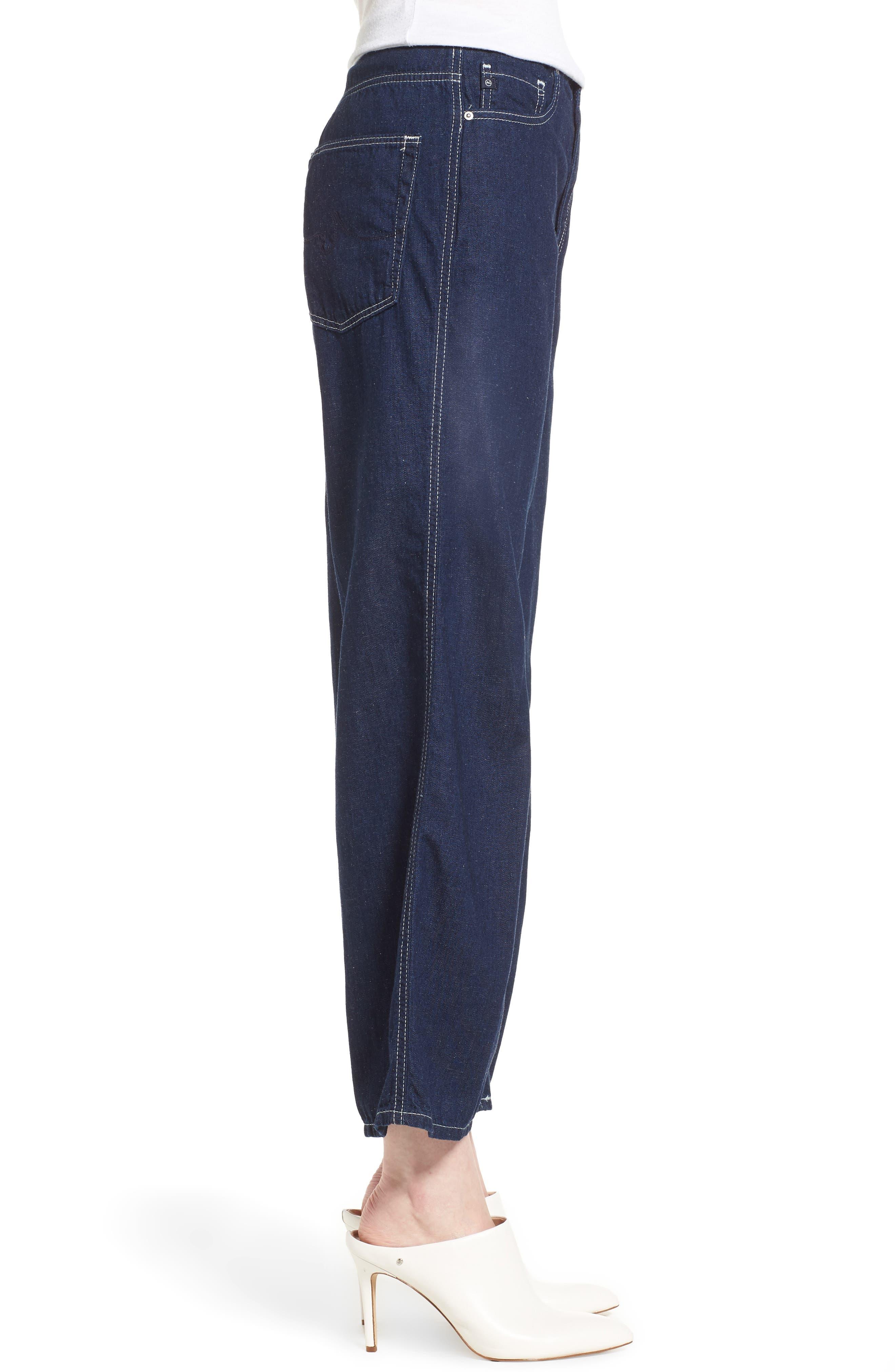 Etta High Waist Crop Wide Leg Jeans,                             Alternate thumbnail 3, color,                             Midnight Surge