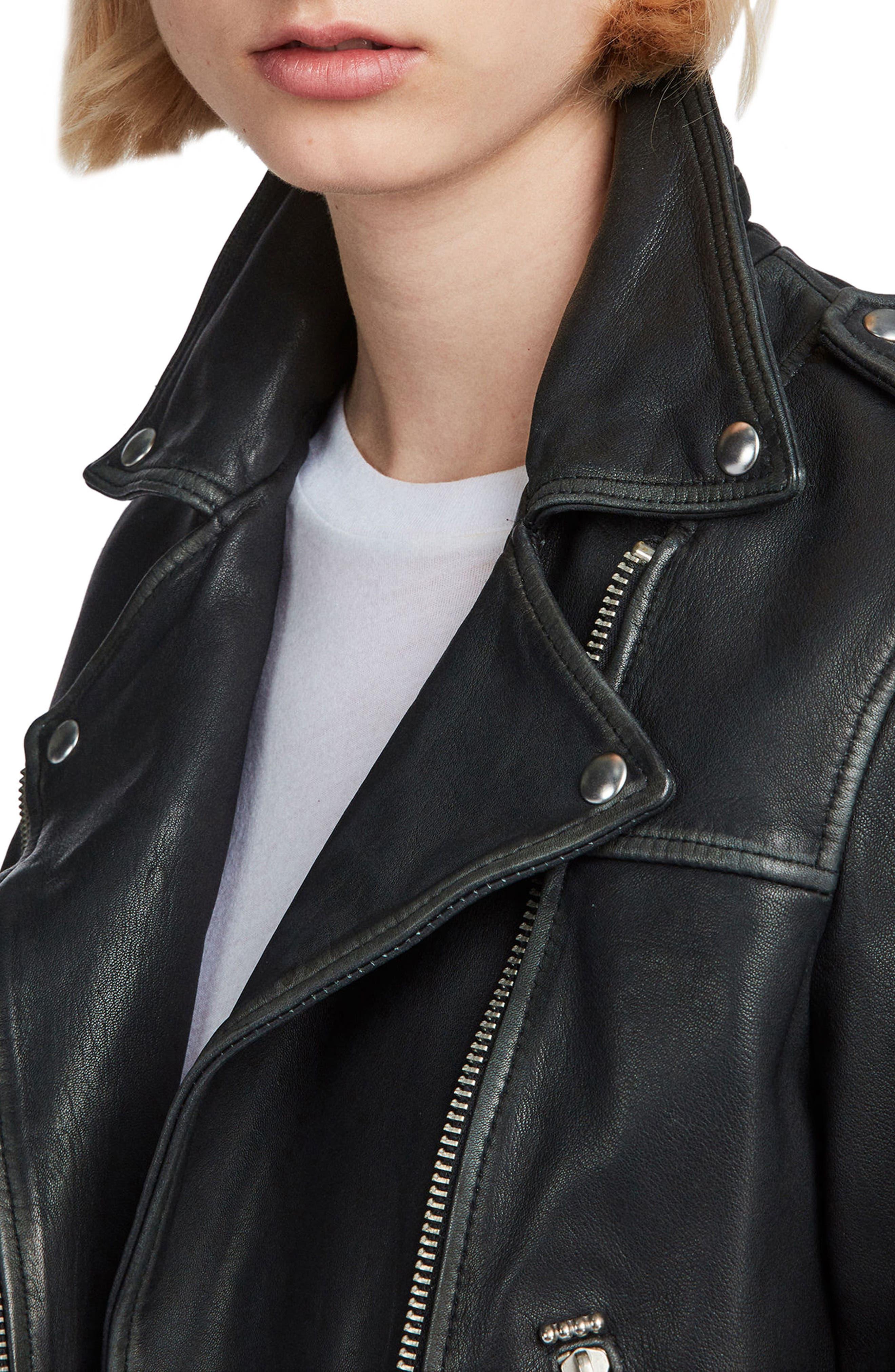 Lara Sheepskin Leather Biker Jacket,                             Alternate thumbnail 5, color,                             Black