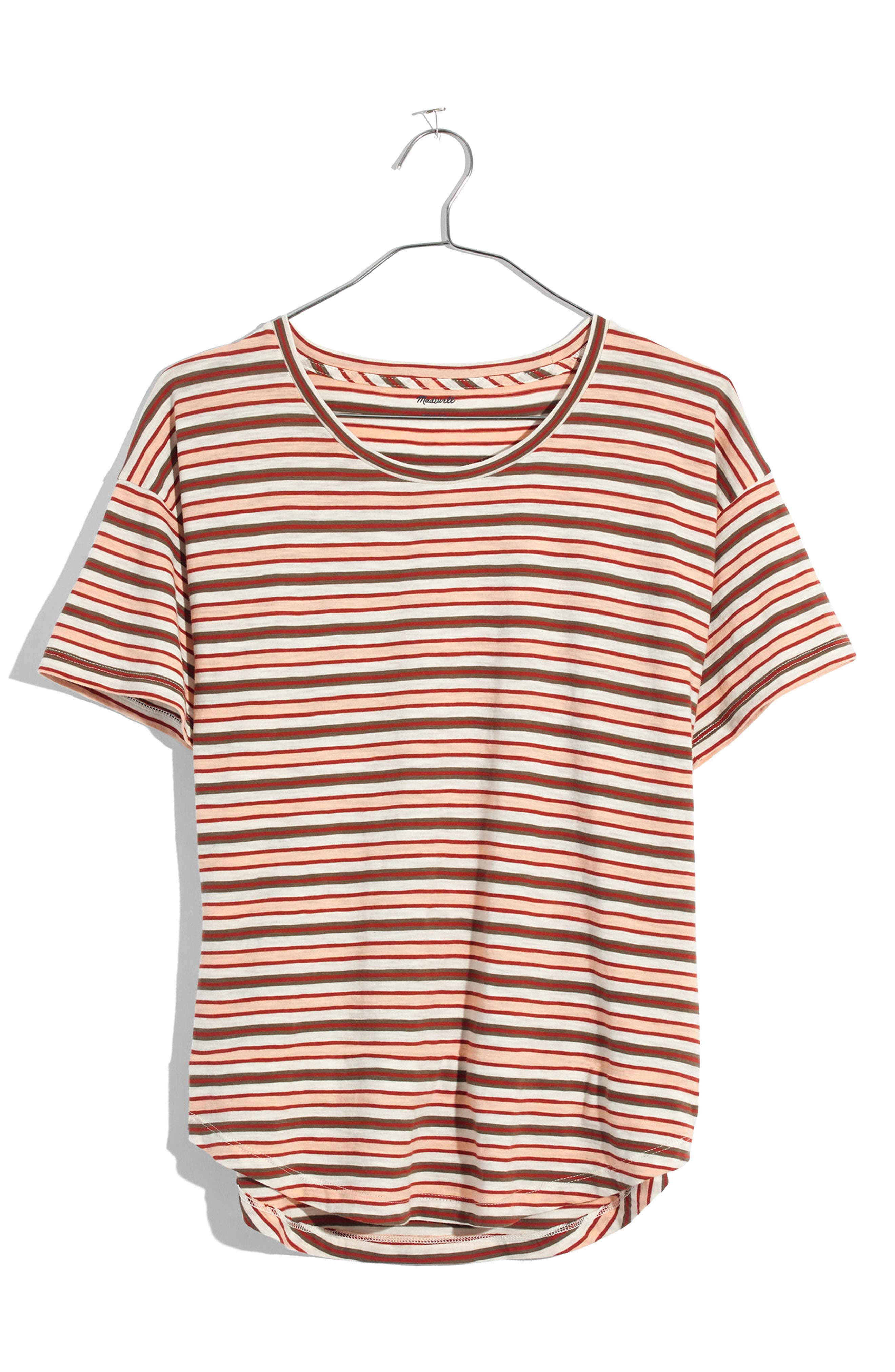 Whisper Cotton Stripe Crewneck Tee,                         Main,                         color, Muted Shell