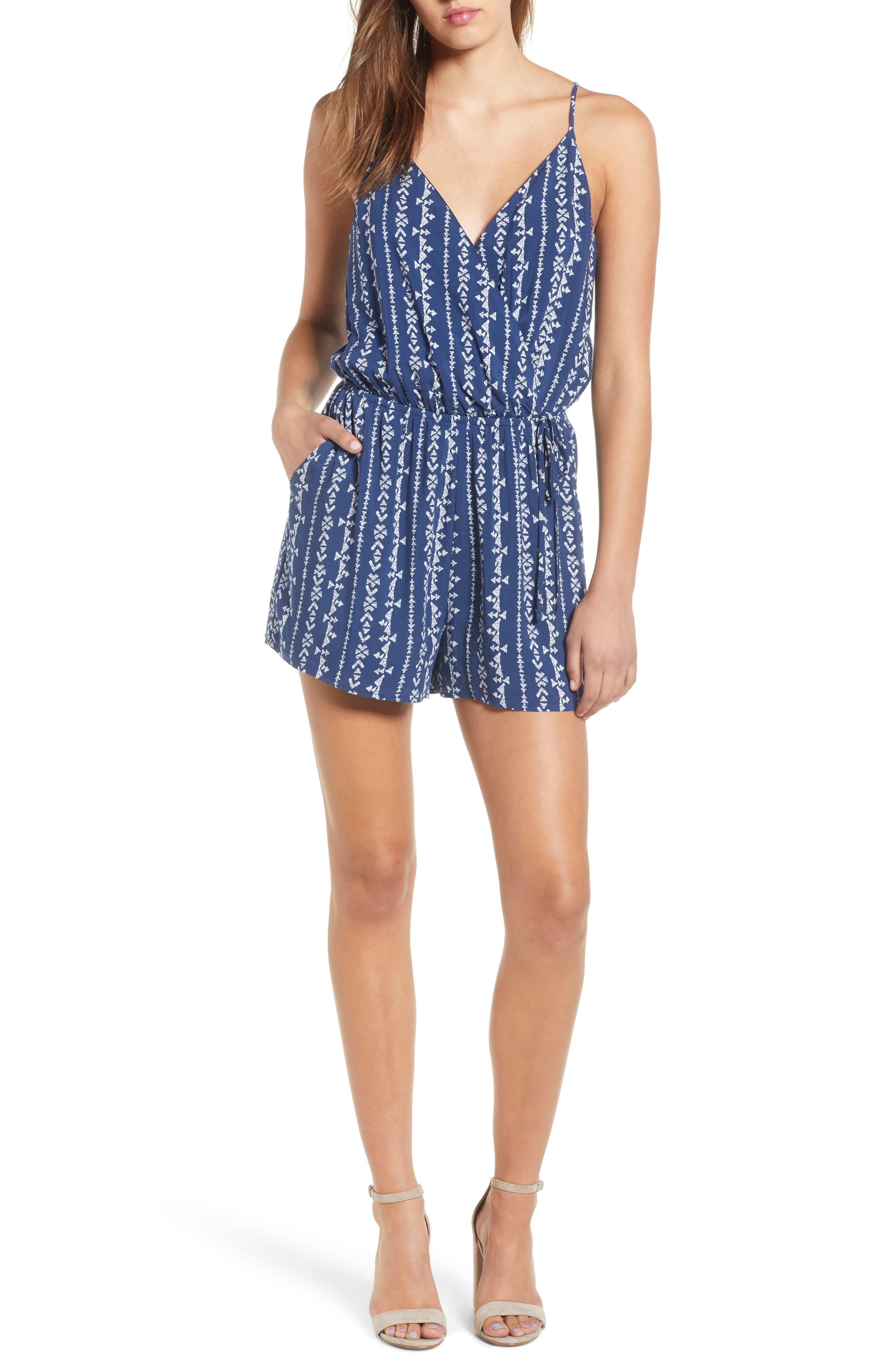 Surplice Romper,                             Main thumbnail 1, color,                             Navy Blue Stripe