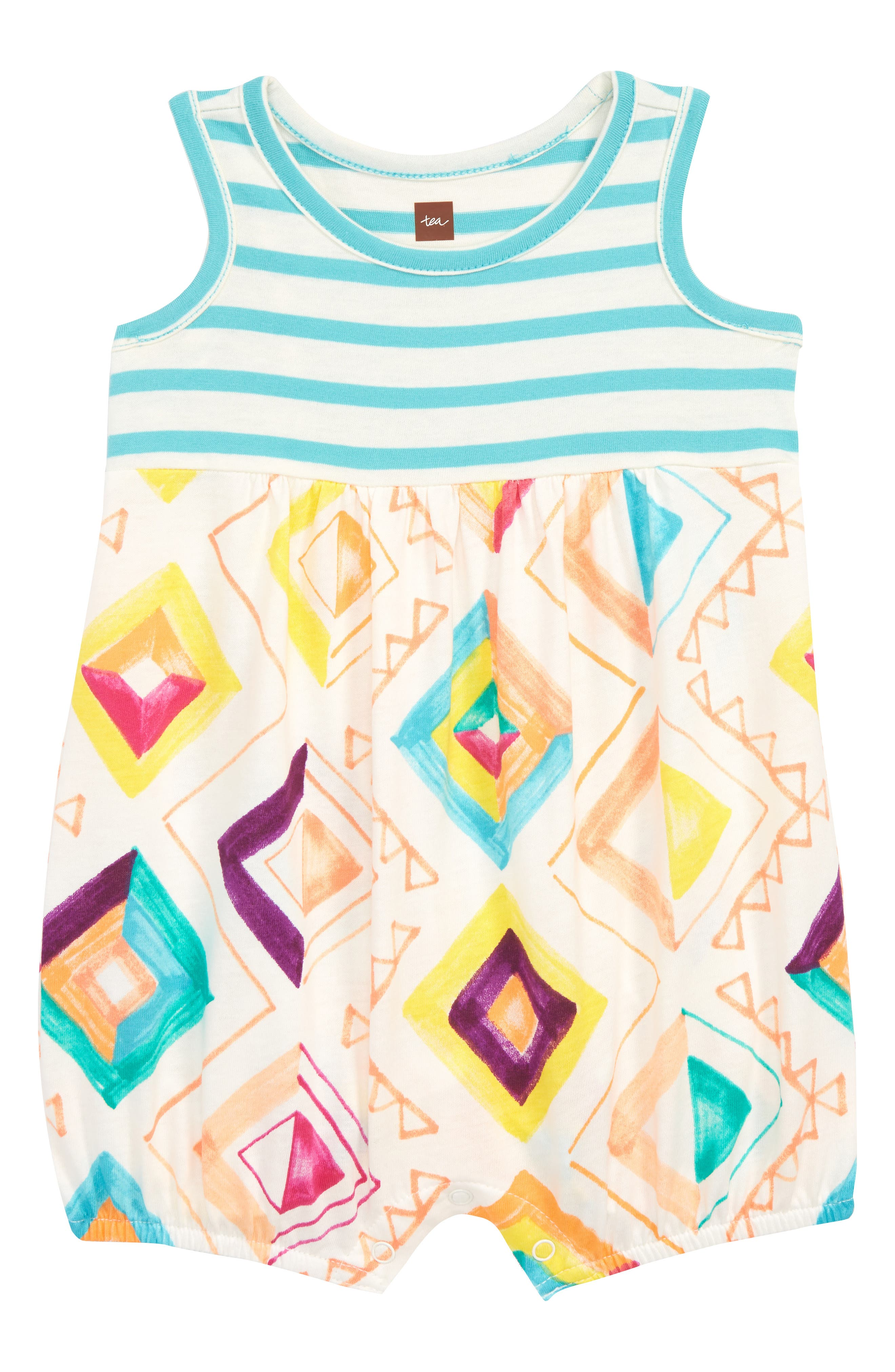Mixed Print Romper,                             Main thumbnail 1, color,                             Modern Geo