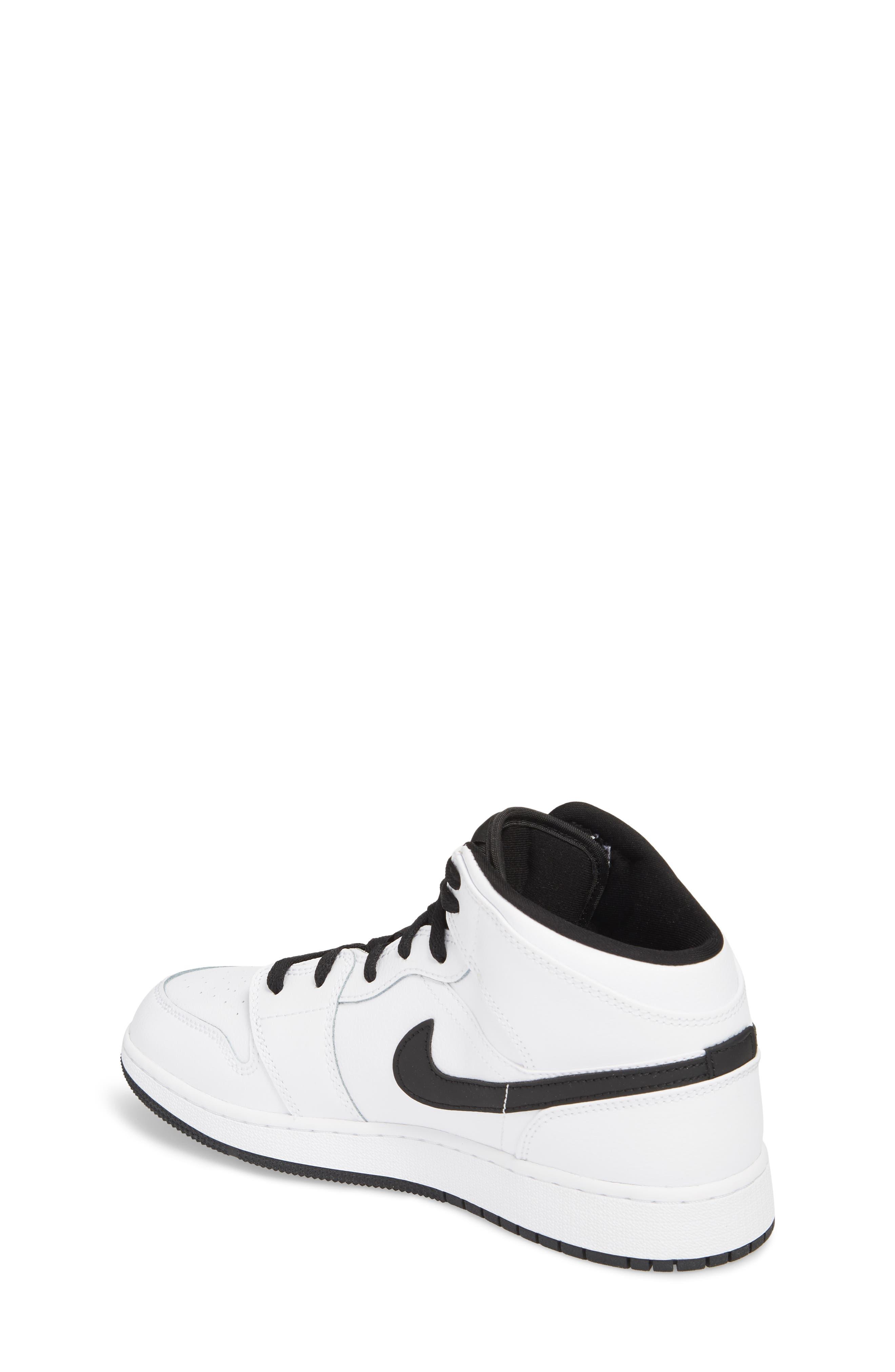 Nike 'Air Jordan 1 Mid' Sneaker,                             Alternate thumbnail 2, color,                             White/ Fuchsia Blast/ Black