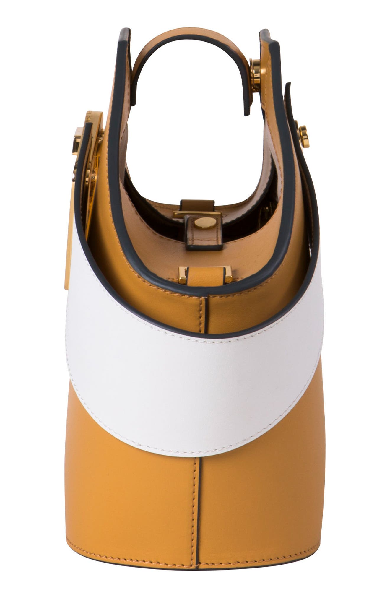 Mini Johnny Leather Bucket Bag,                             Alternate thumbnail 4, color,                             Sand