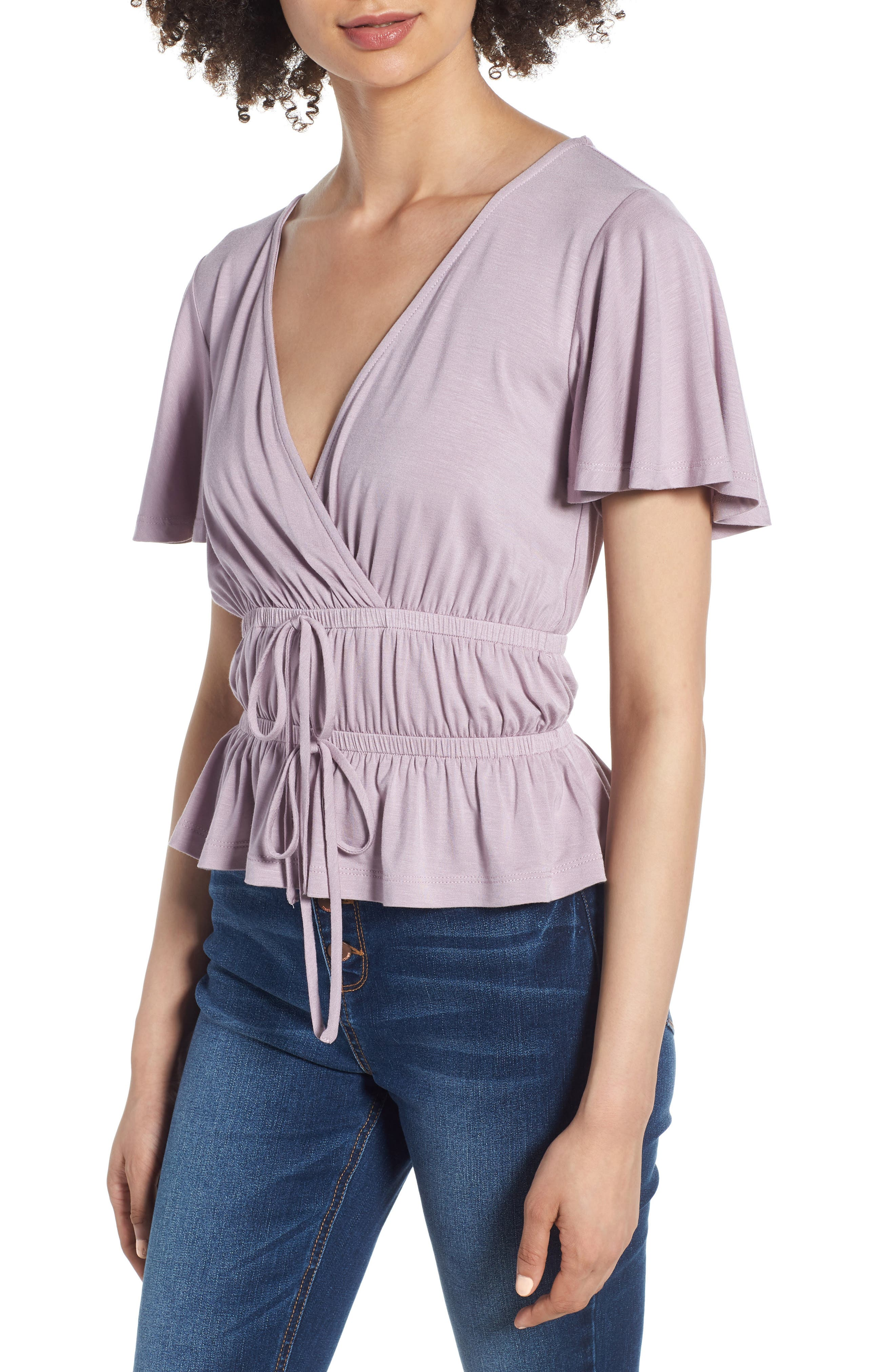 Cross Front Cinch Tee,                             Main thumbnail 1, color,                             Violet Ice