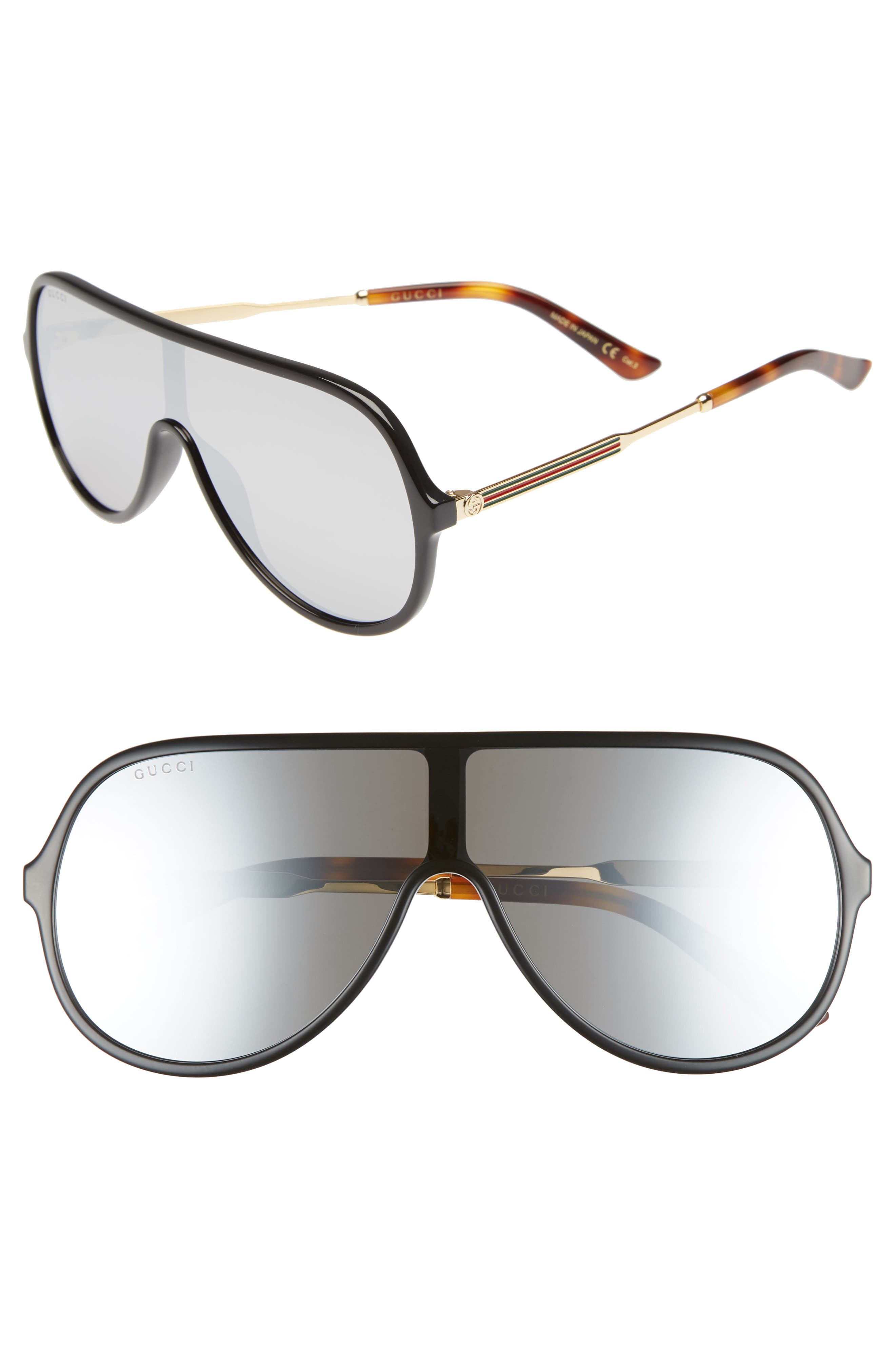 99mm Oversize Shield Sunglasses,                             Main thumbnail 1, color,                             Black