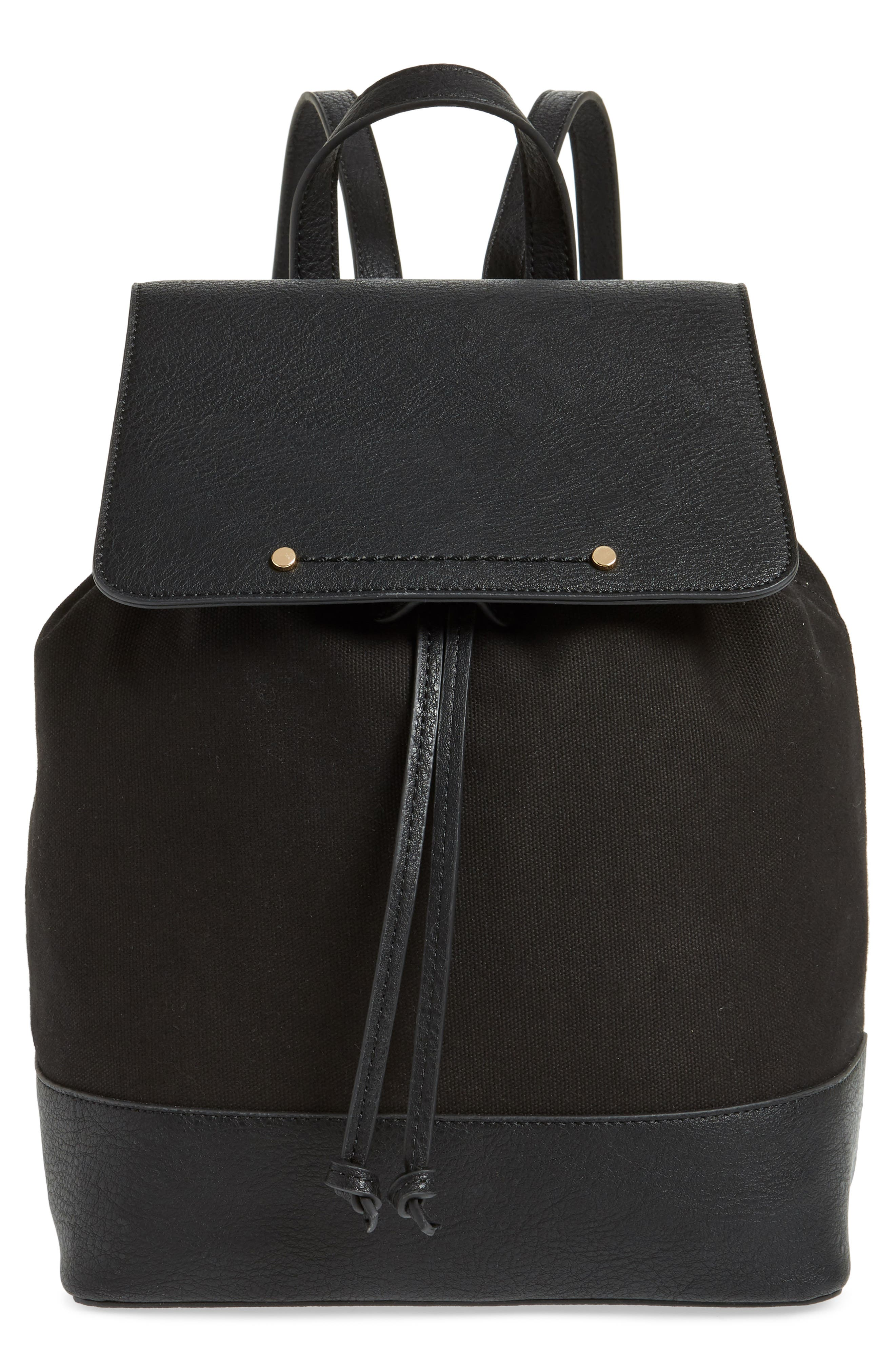 Canvas & Faux Leather Backpack,                             Main thumbnail 1, color,                             Black
