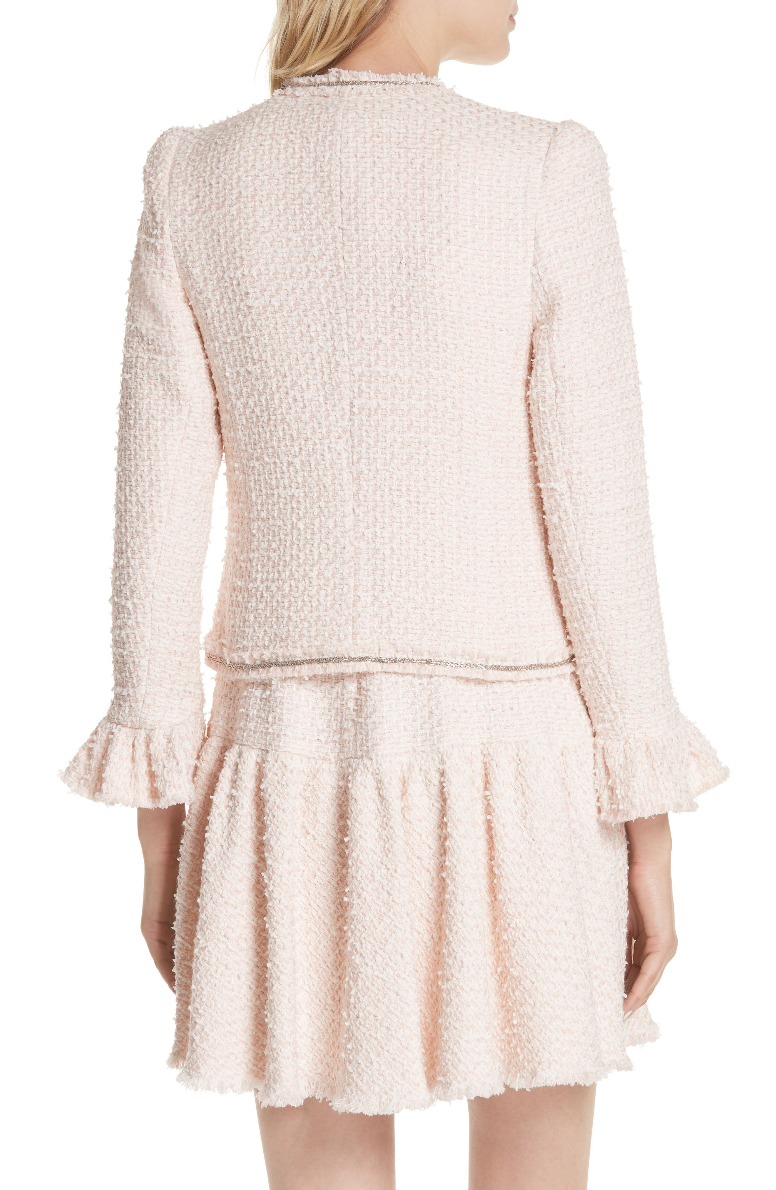 Ruffle Sleeve Tweed Jacket,                             Alternate thumbnail 2, color,                             Powder Pink Combo