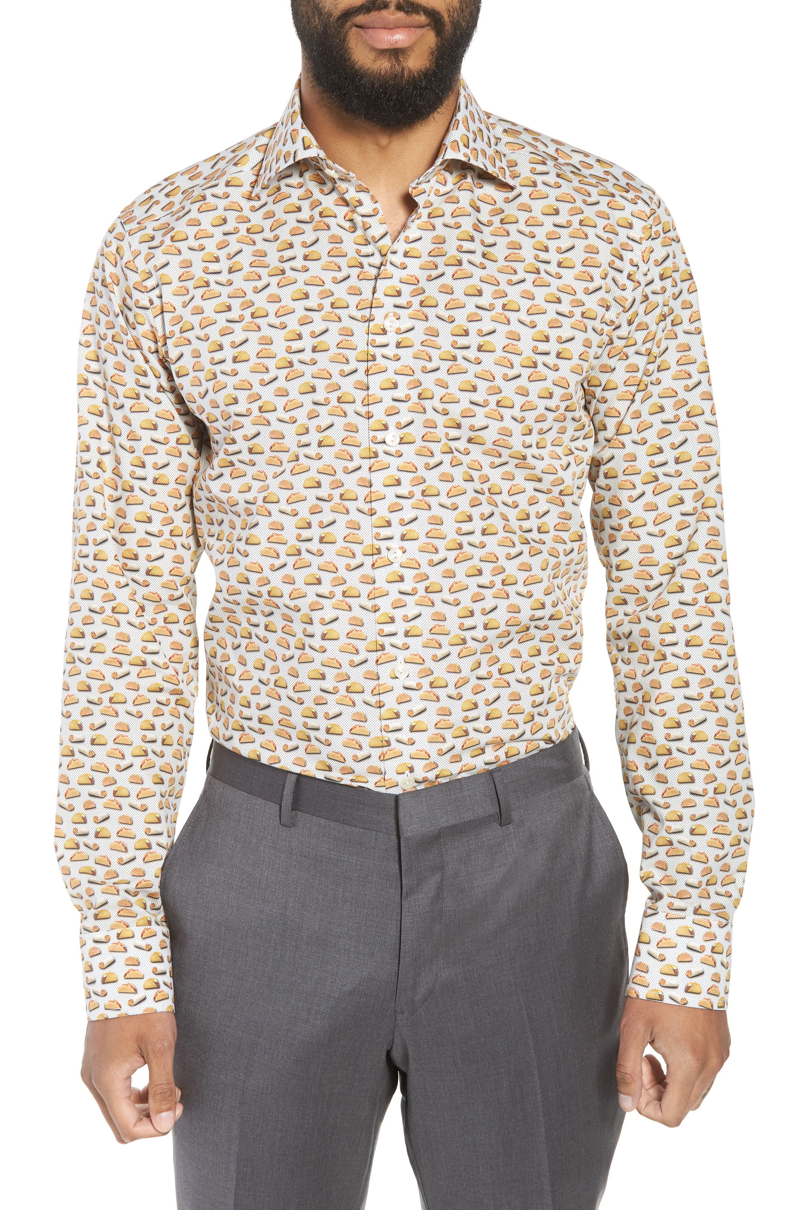 Slim Fit Taco Print Dress Shirt,                             Main thumbnail 1, color,                             White