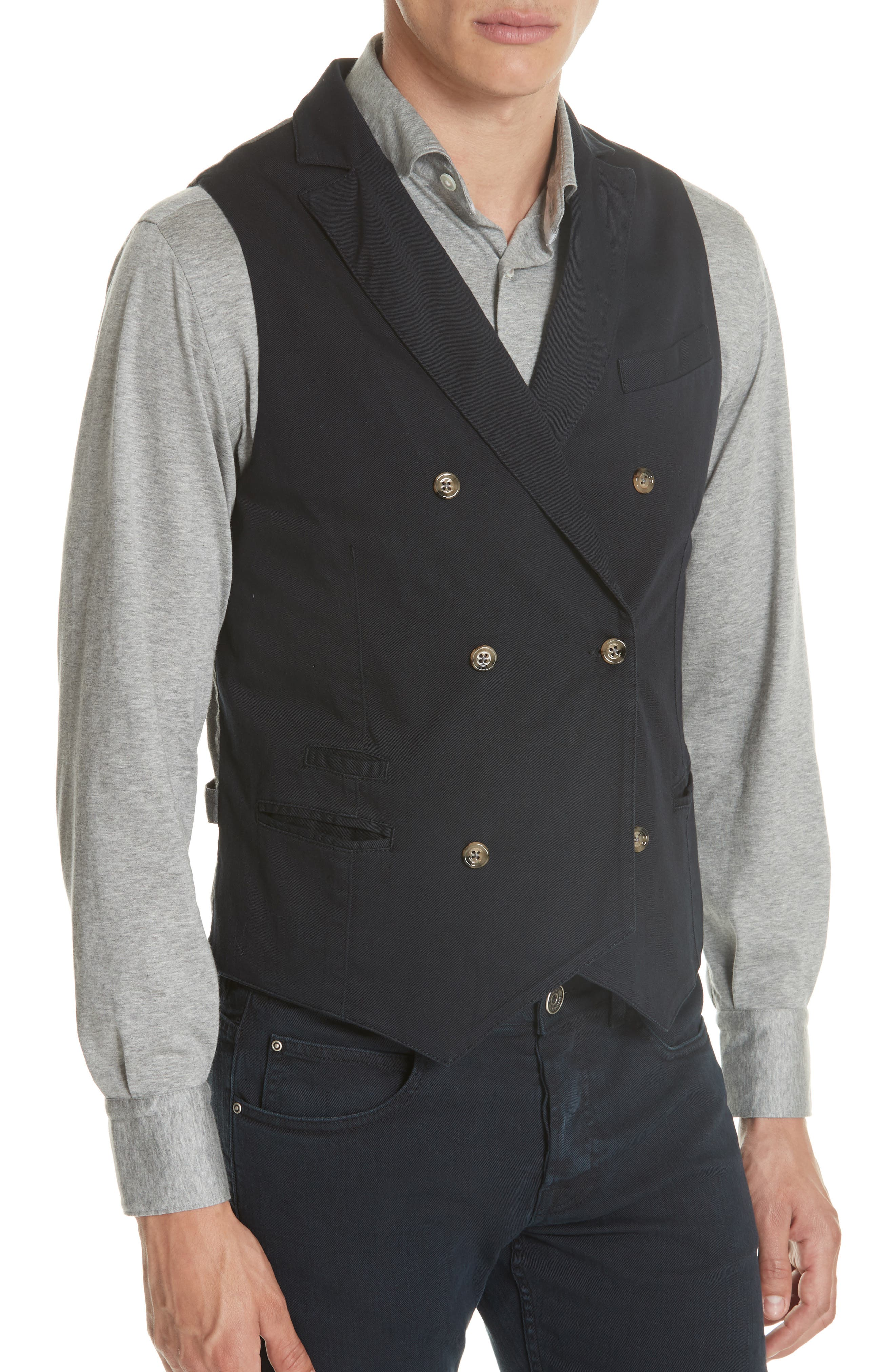 Slim Fit Stretch Cotton Twill Vest,                             Alternate thumbnail 4, color,                             Navy