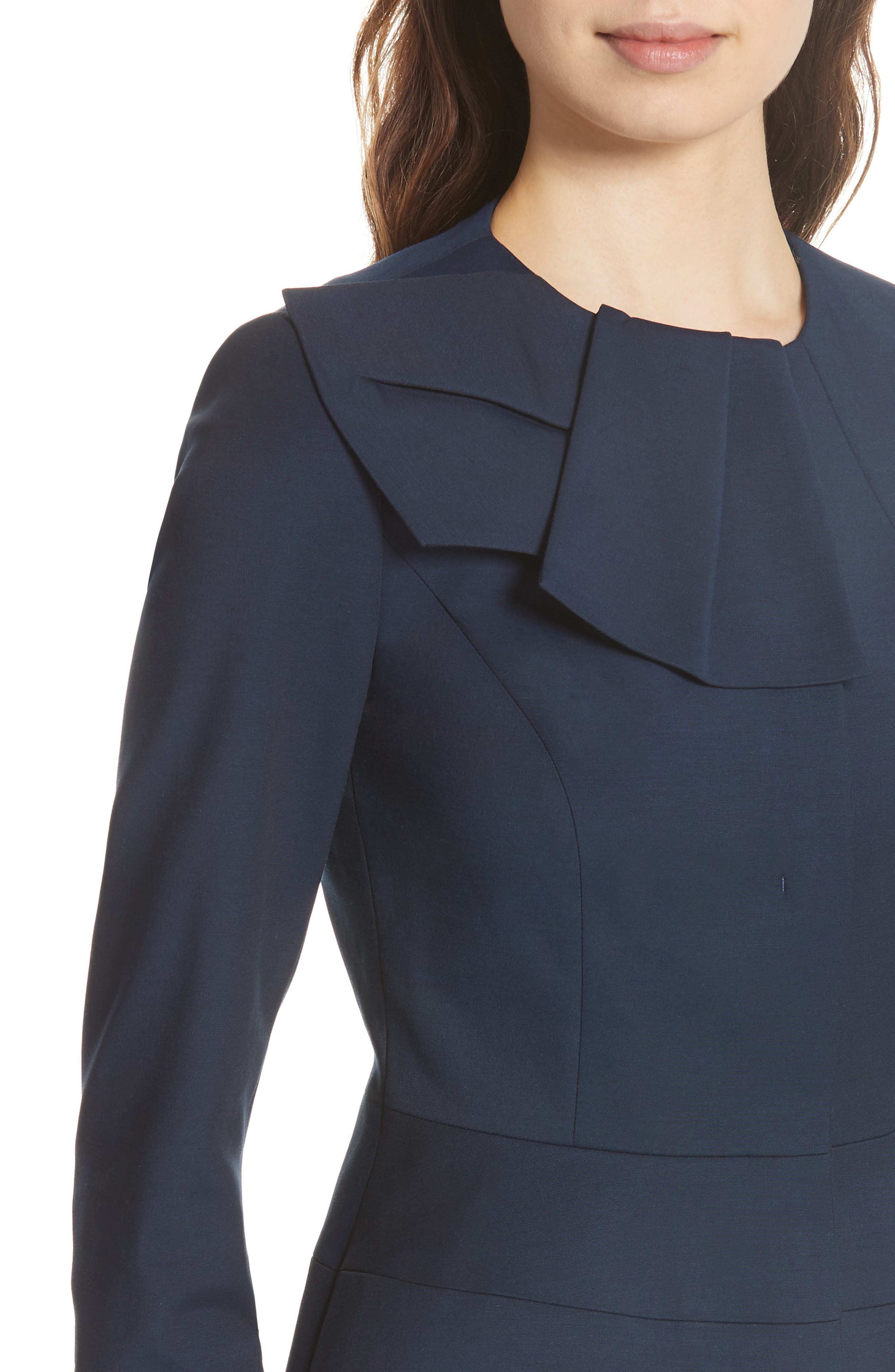Rayal Bow Neck Peplum Jacket,                             Alternate thumbnail 4, color,                             Dark Blue