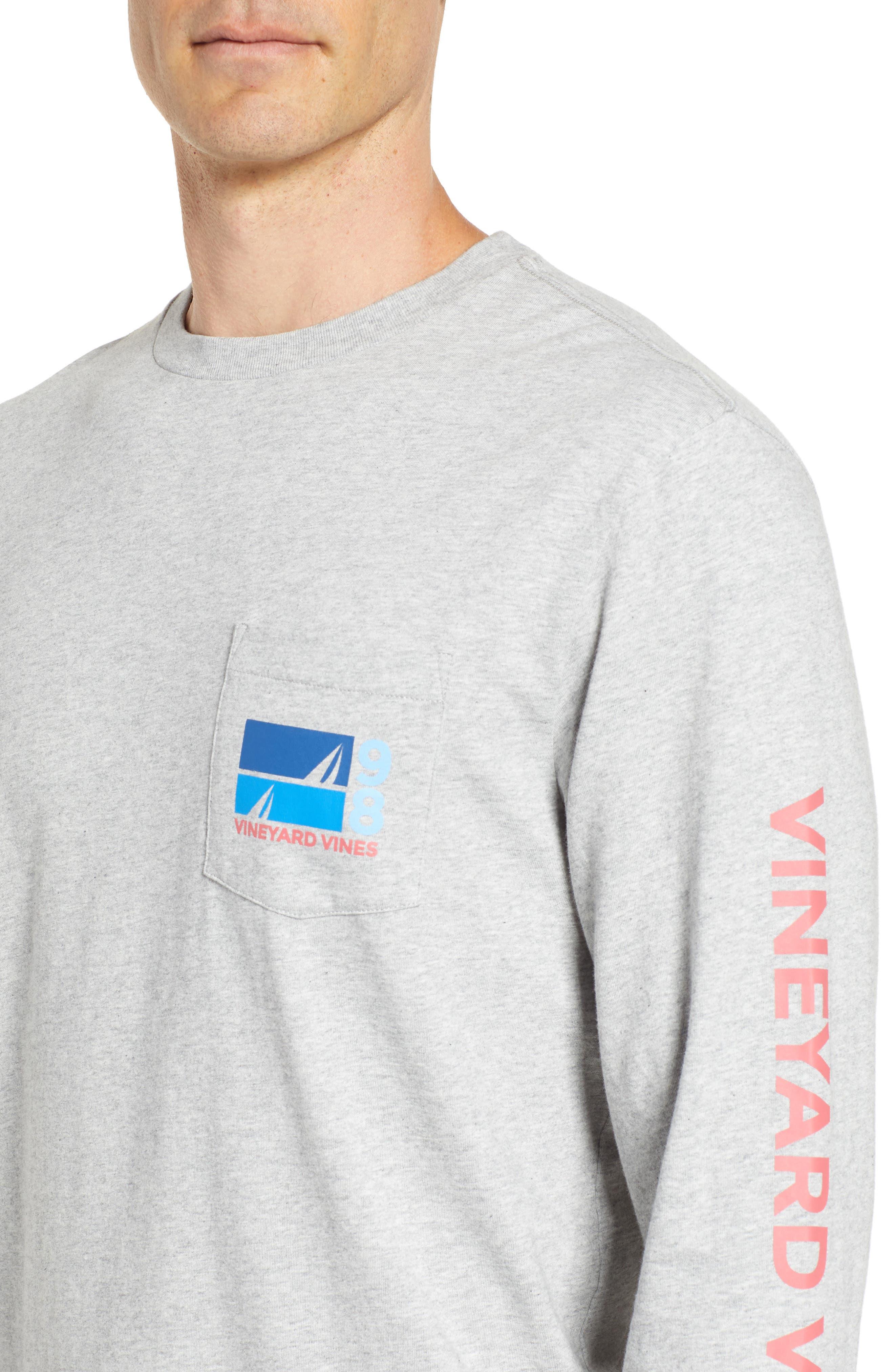 Sailing Blue Regular Fit Crewneck T-Shirt,                             Alternate thumbnail 4, color,                             Gray Heather