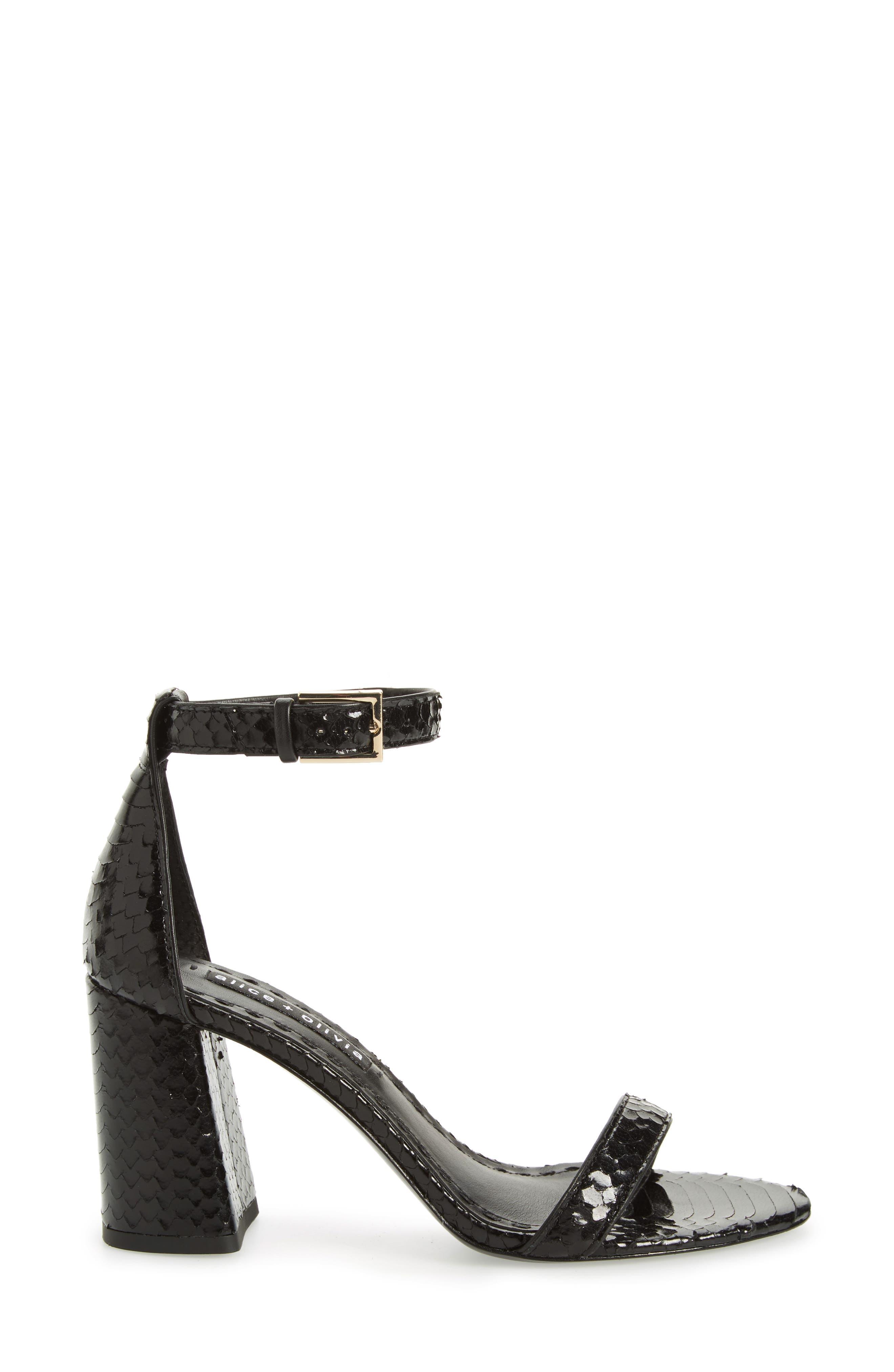 Lillian Ankle Strap Sandal,                             Alternate thumbnail 3, color,                             Black