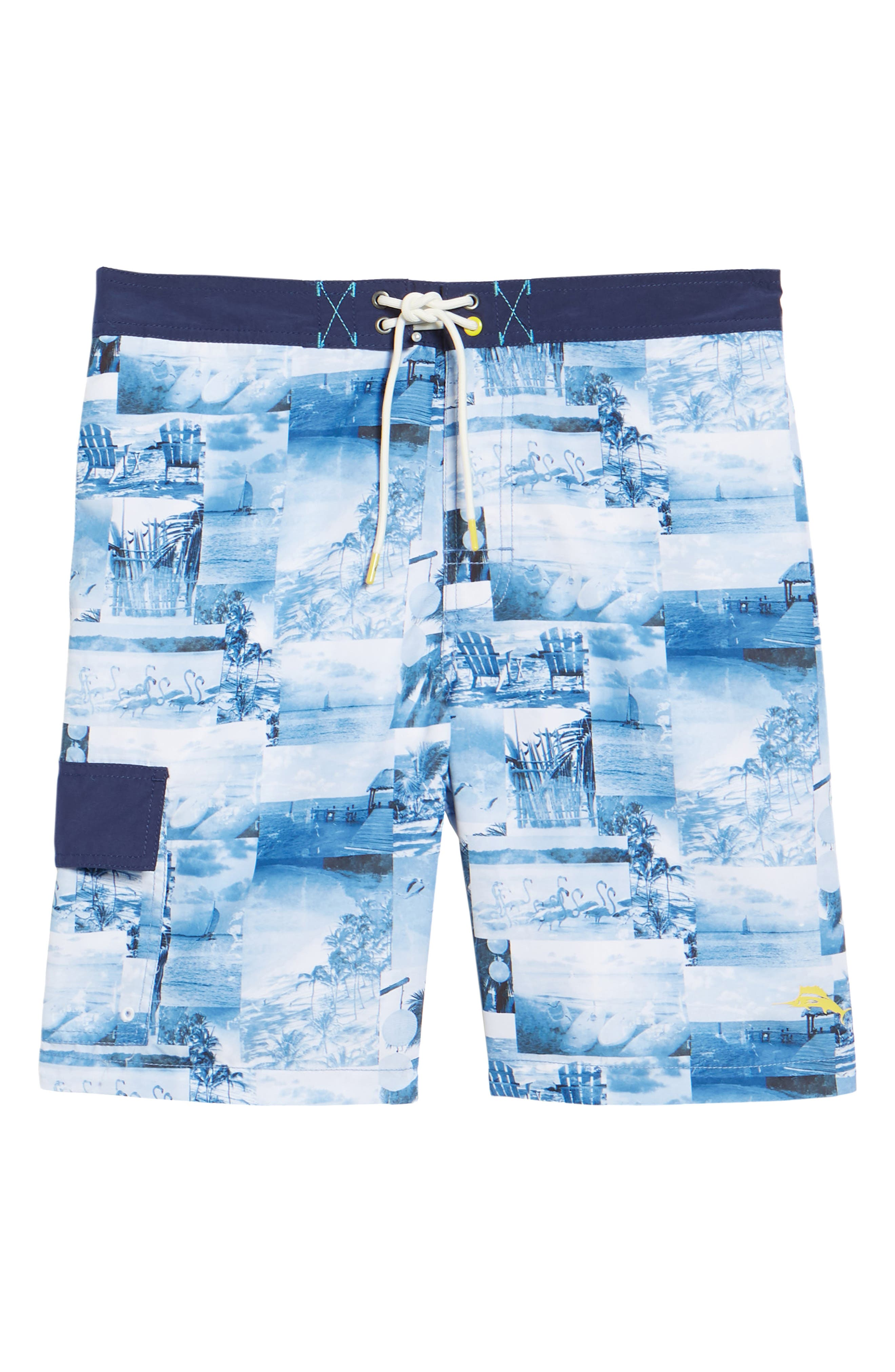 Baja Coast Busters Swim Trunks,                             Alternate thumbnail 6, color,                             Dockside Blue