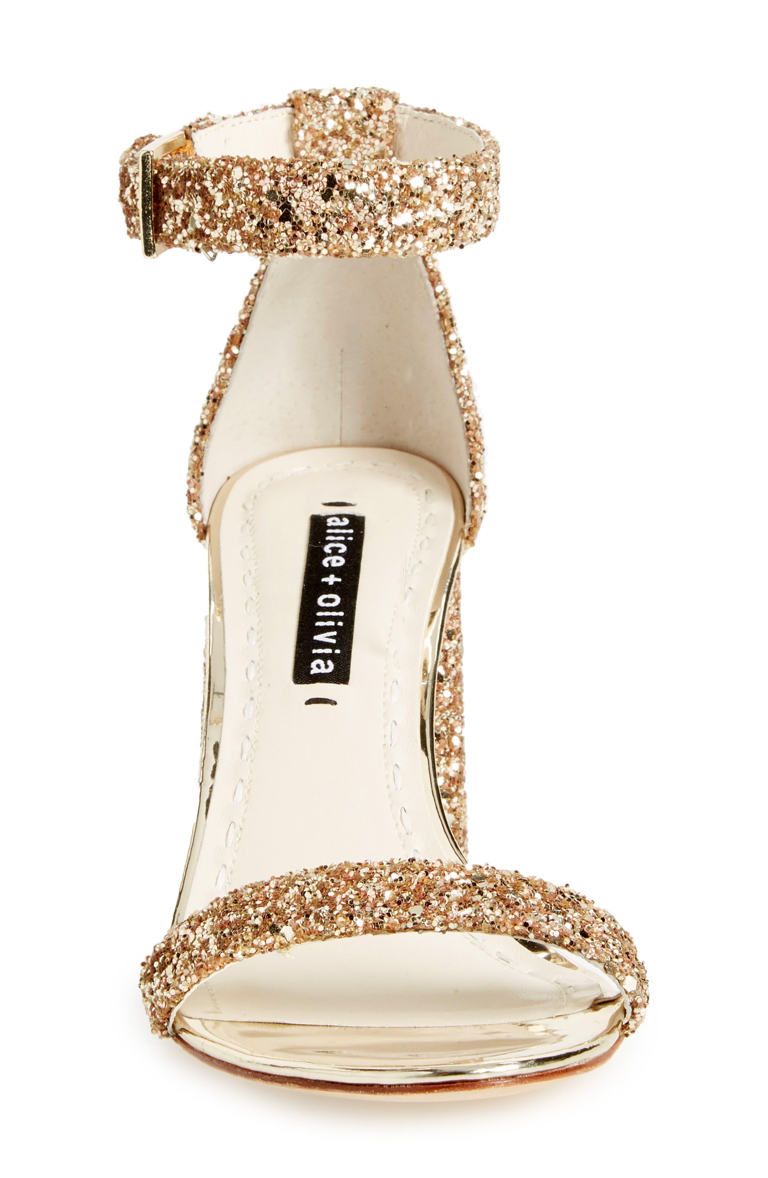 Lillian Glitter Ankle Strap Sandal,                             Alternate thumbnail 4, color,                             Gold